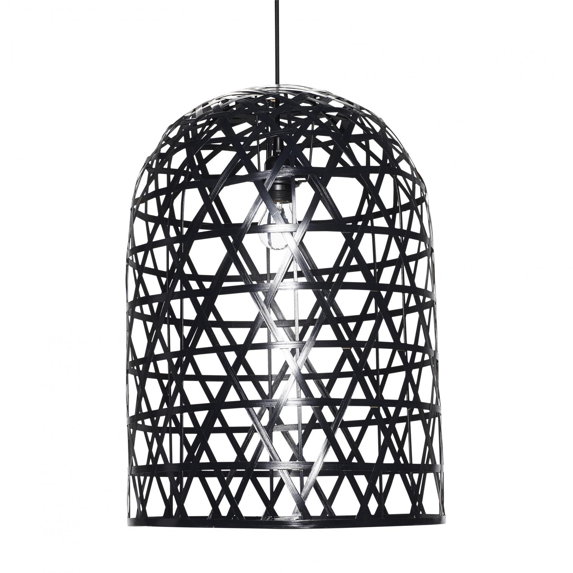 Hübsch Lampa Black bamboo long, černá barva, dřevo