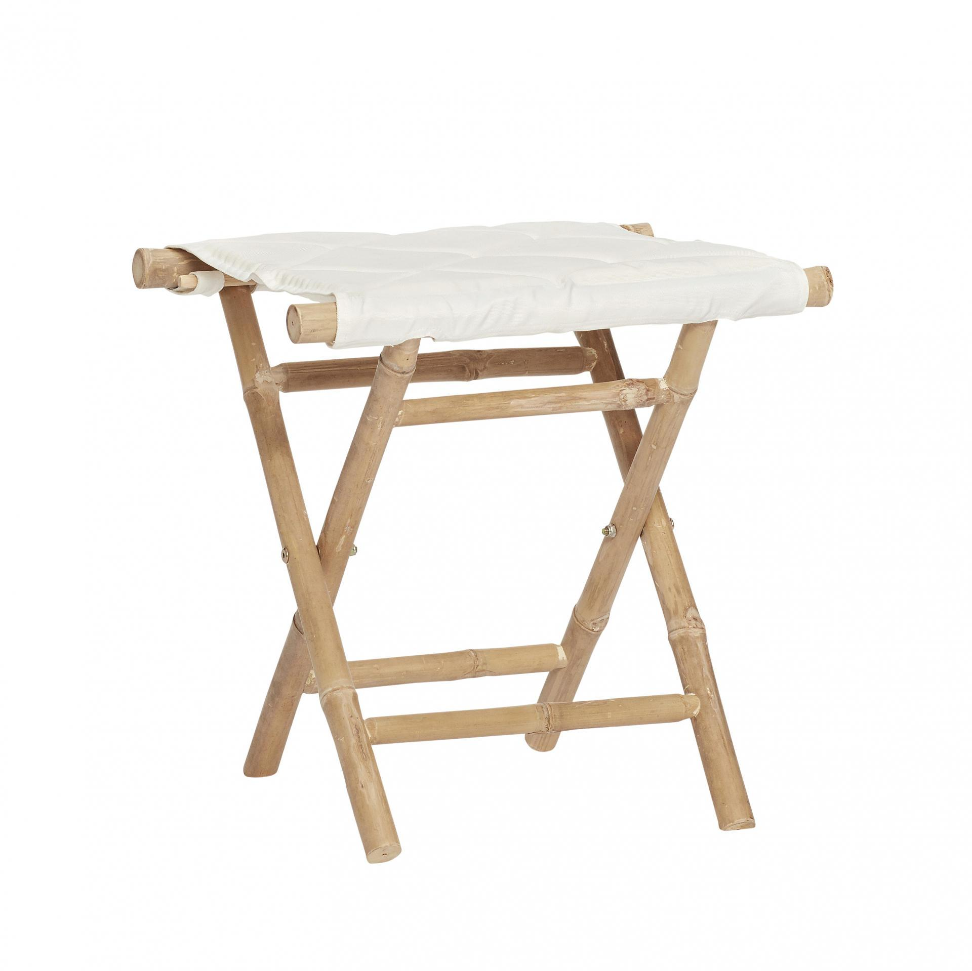 Hübsch Bambusová stolička Stool, béžová barva, bílá barva, dřevo
