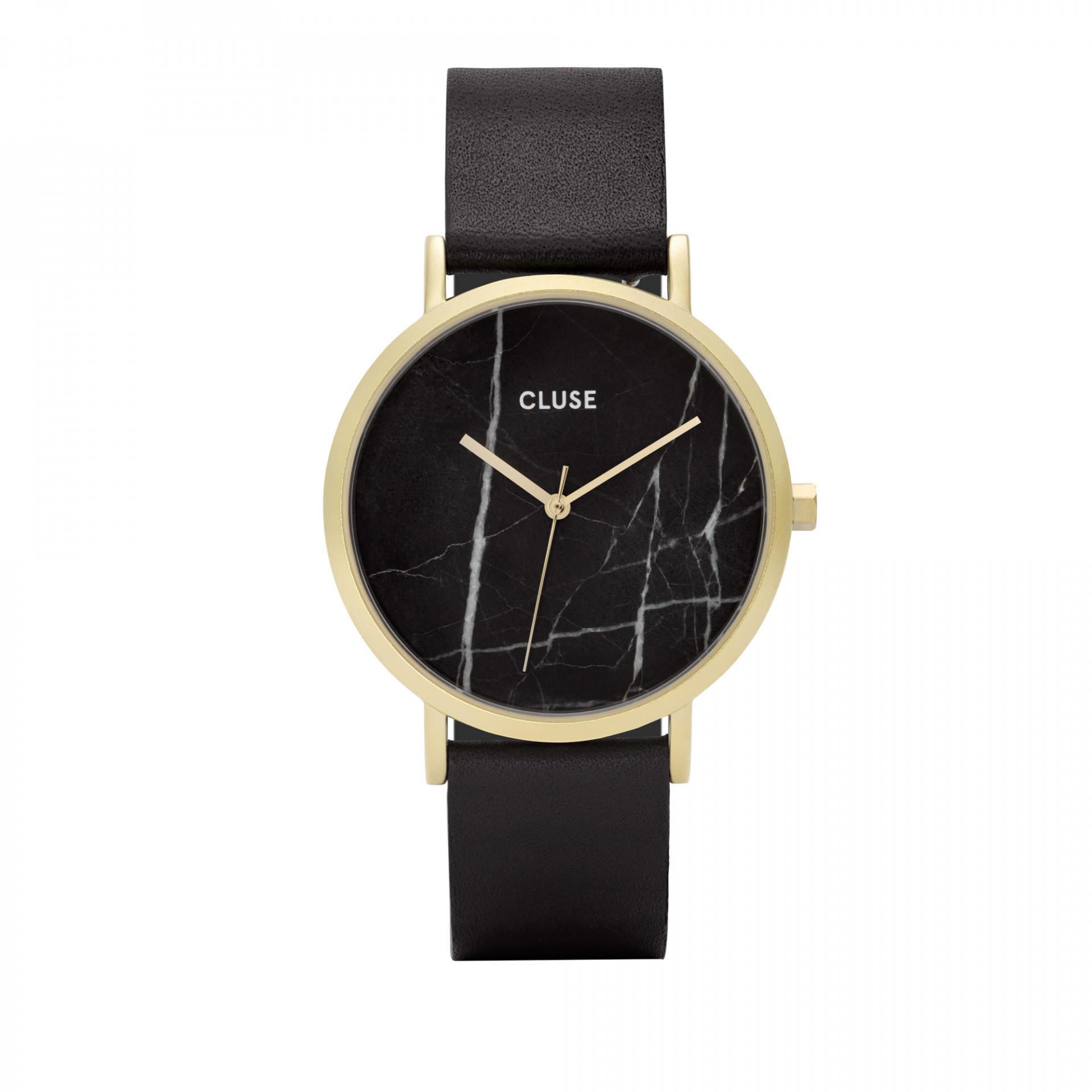 CLUSE Hodinky Cluse La Roche Gold/black Marble, černá barva, zlatá barva, kůže, mramor