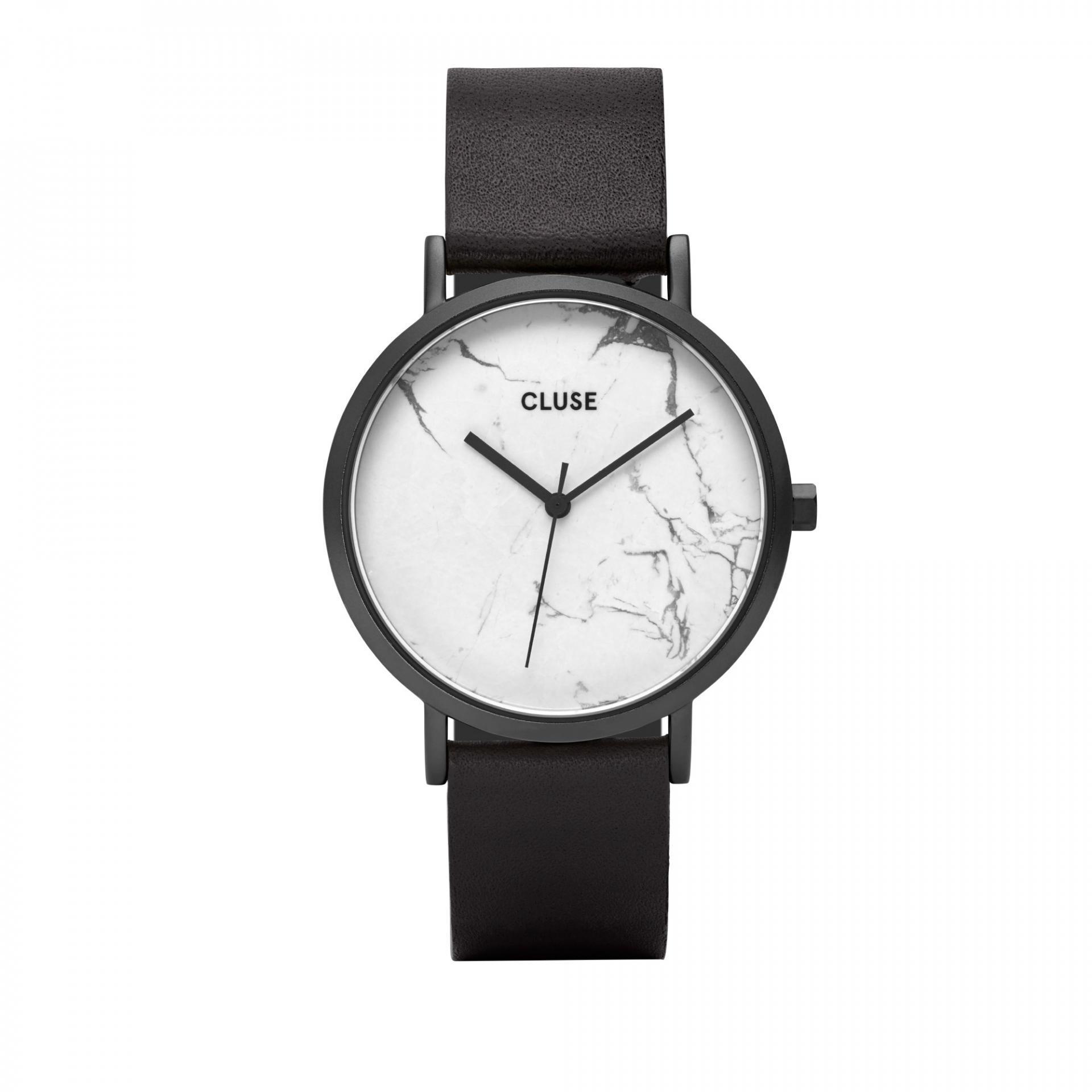 a60230ff0fd Černé dámské hodinky Cluse La Roche Full Black white Marble s bílým ...