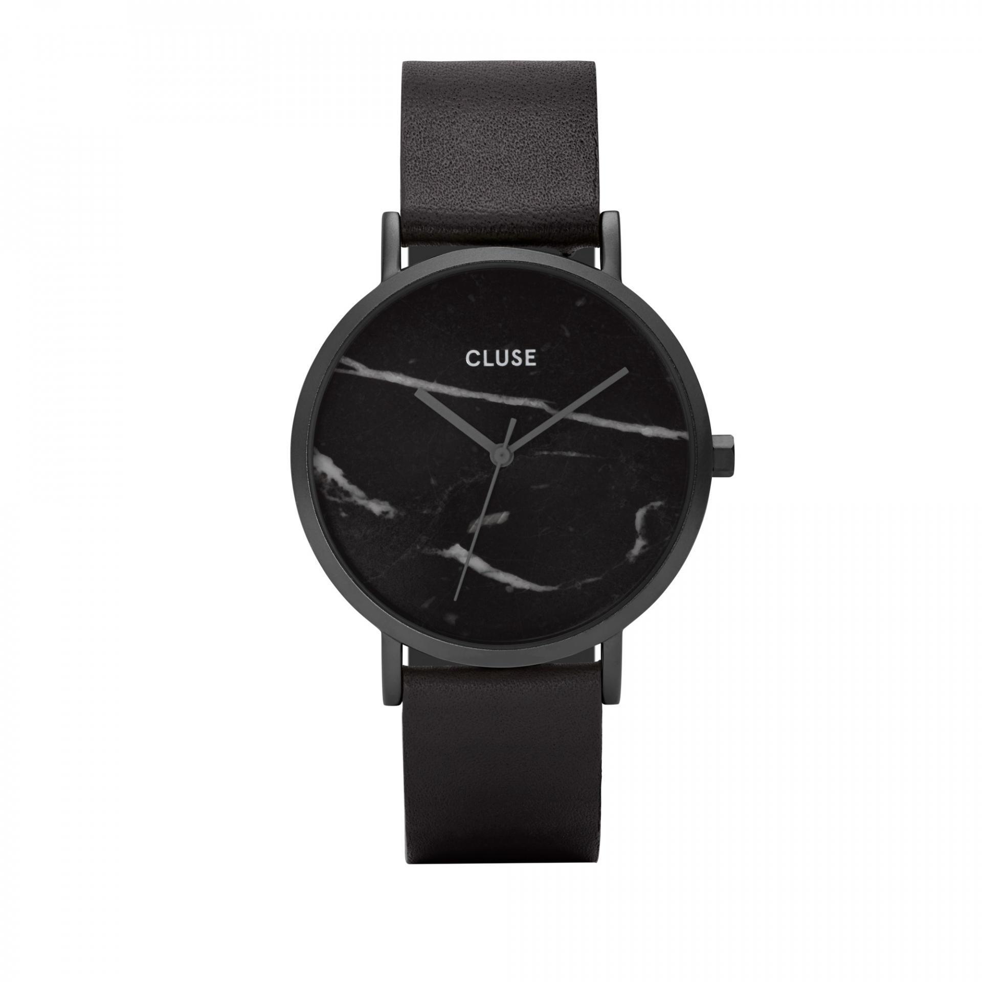 CLUSE Hodinky Cluse La Roche Full Black/black Marble, černá barva, kůže, mramor