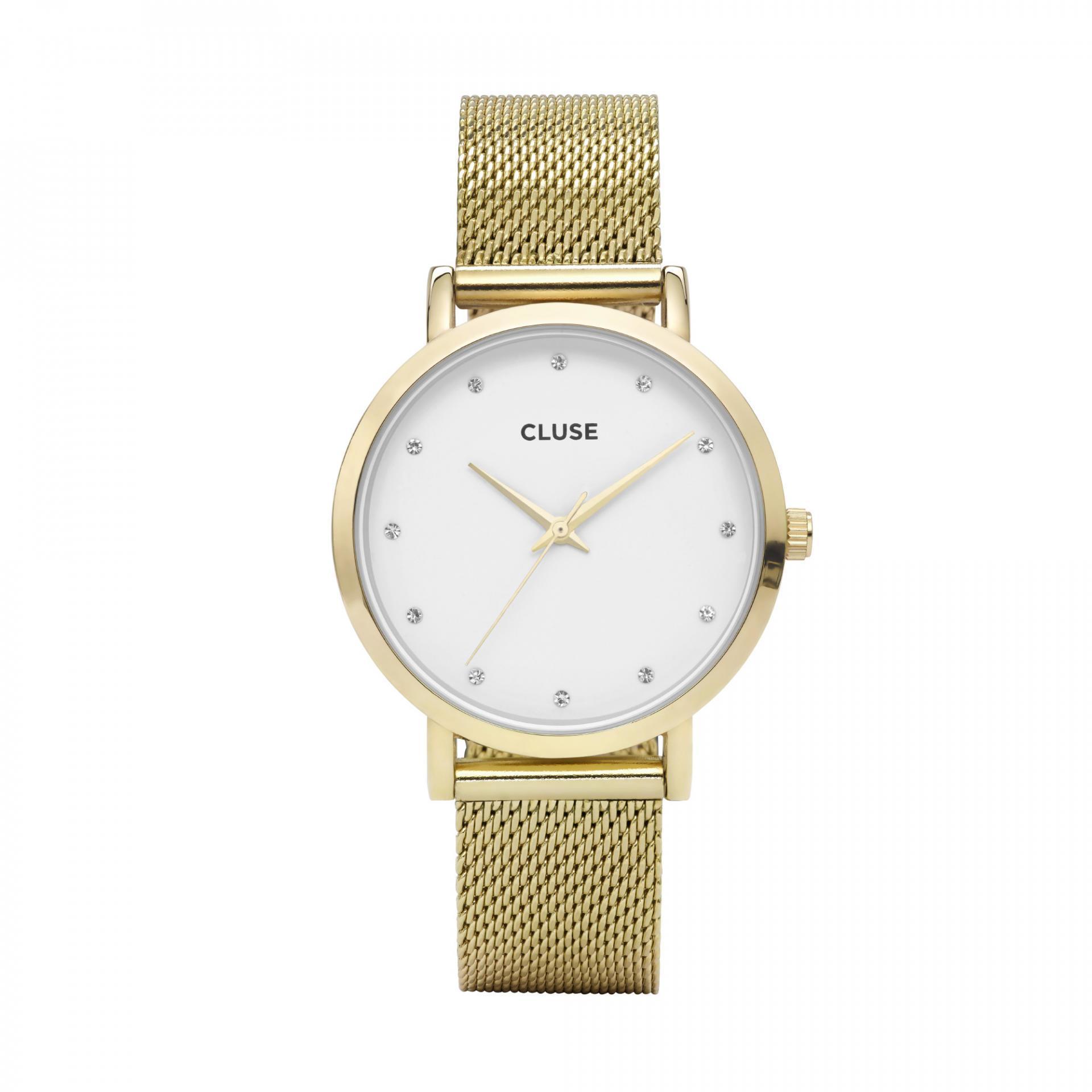 Dámské zlaté hodinky s kamínky Cluse Pavane Gold Stones  e29009eabb9