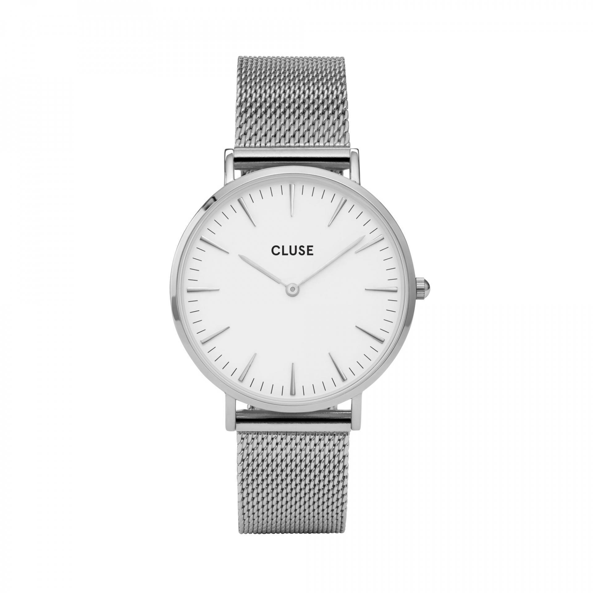 CLUSE Hodinky Cluse La Bohéme Mesh Silver/white, stříbrná barva, sklo, kov