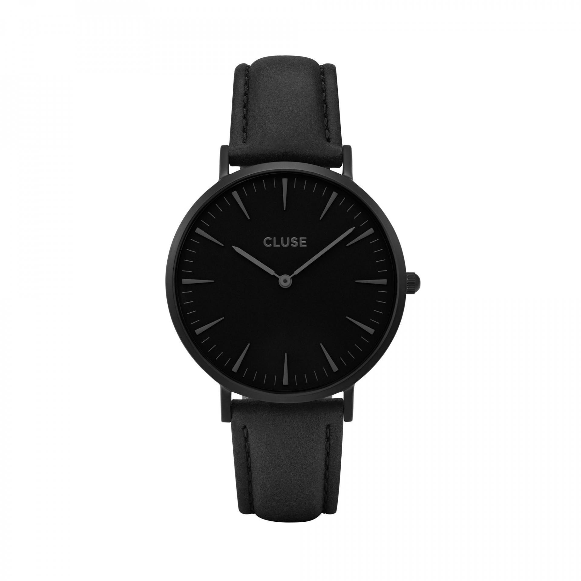 CLUSE Hodinky Cluse La Bohéme Full Black/black, černá barva, sklo, kov, kůže