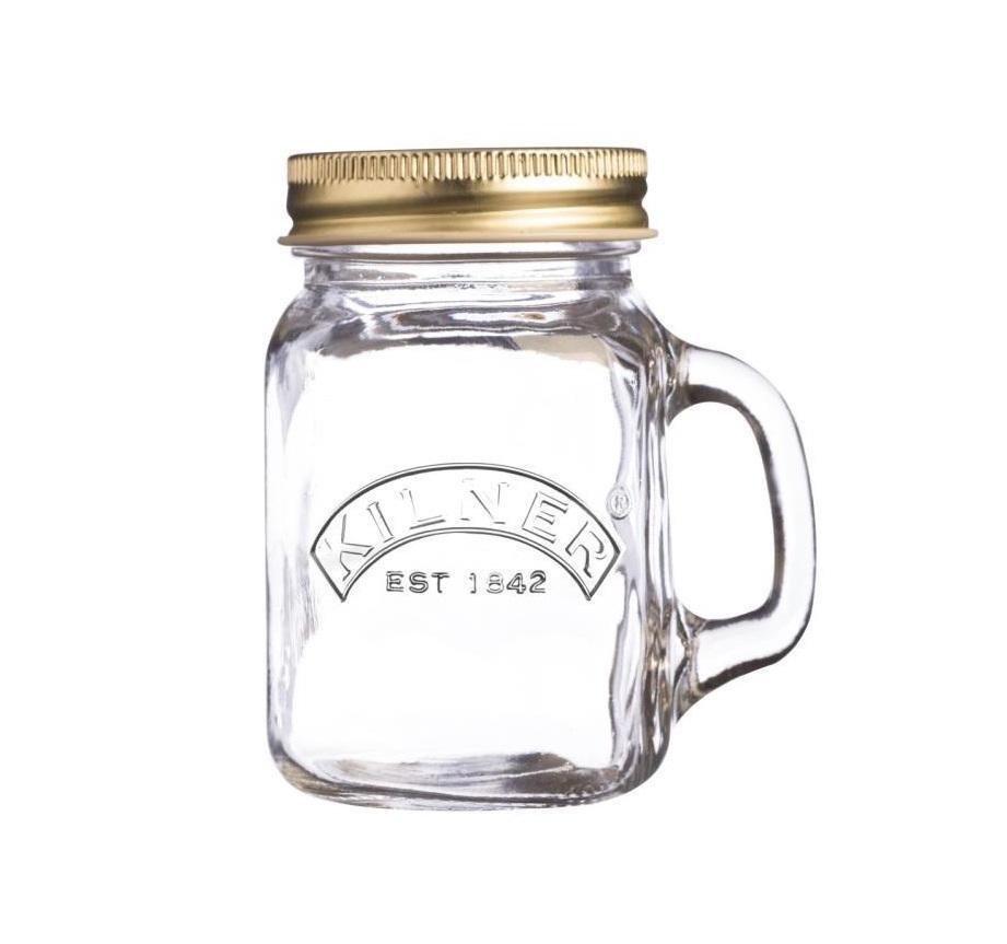 KILNER Mini sklenička s uchem a víčkem 140 ml, čirá barva, sklo 140 ml