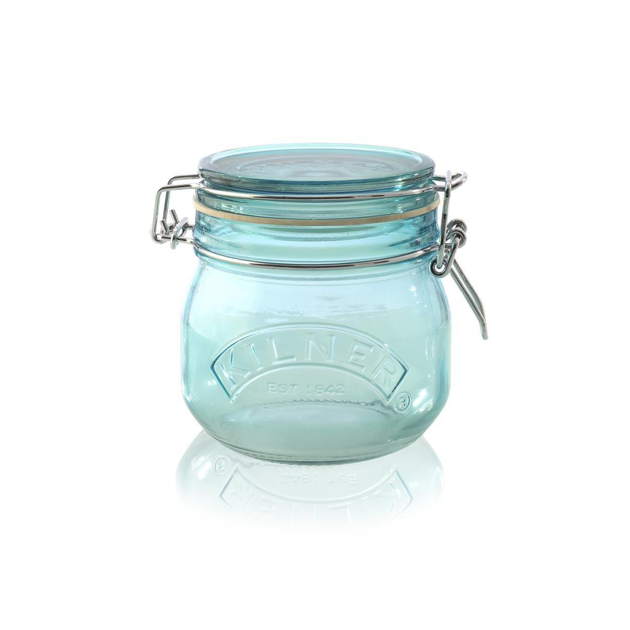 KILNER Skleněná dóza s klipem Blue 500 ml, modrá barva, sklo