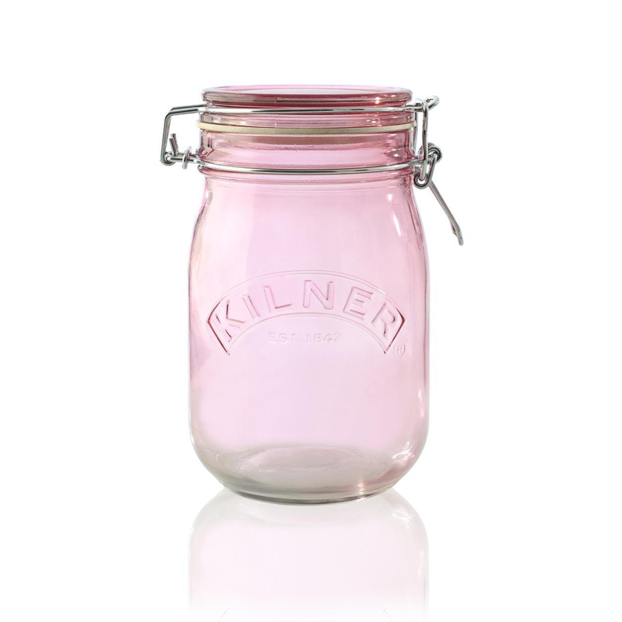 KILNER Skleněná dóza s klipem Pink 1 l, růžová barva, sklo