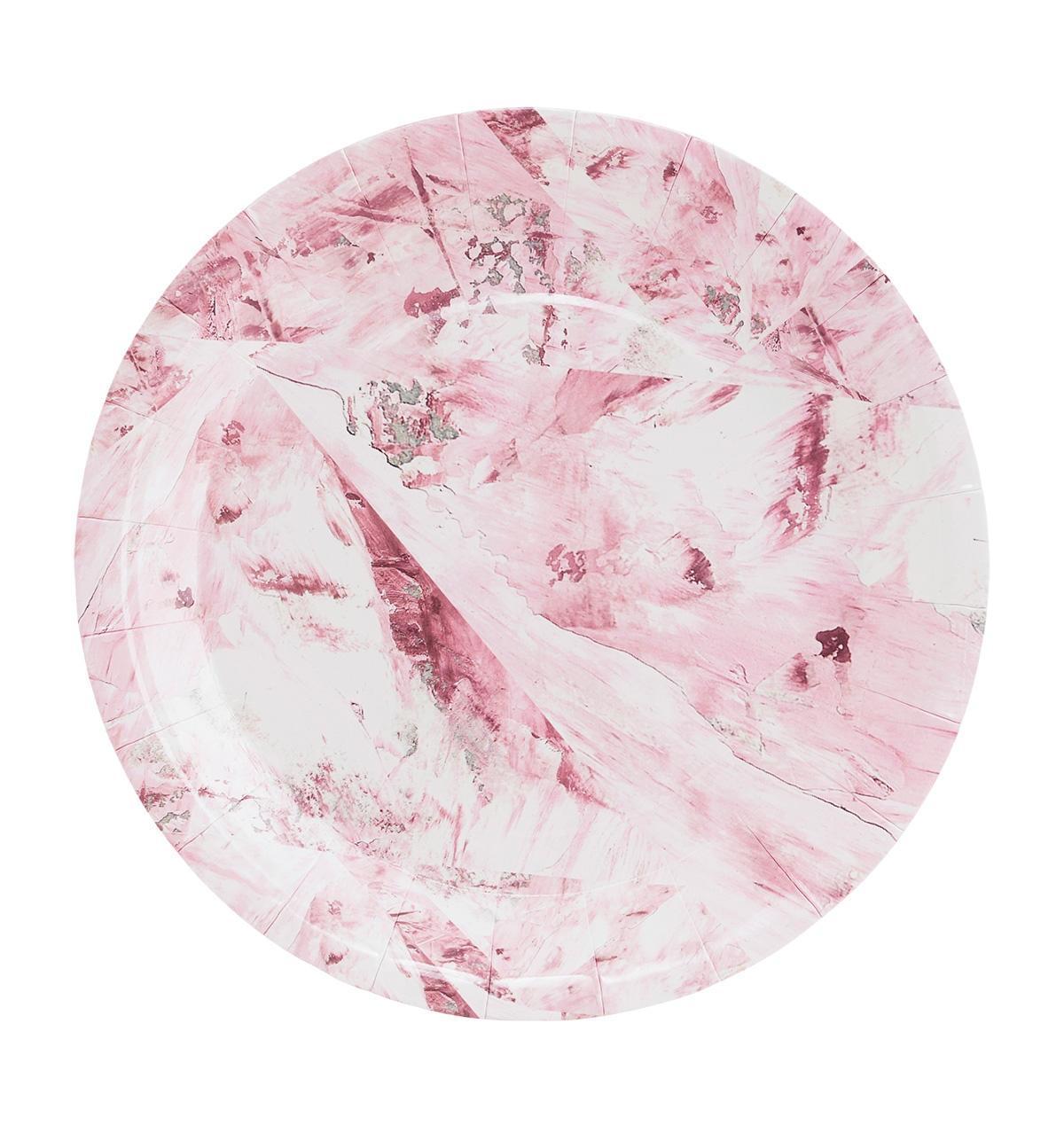 House Doctor Papírové talířky Pink Marble - set 12 ks, růžová barva, papír