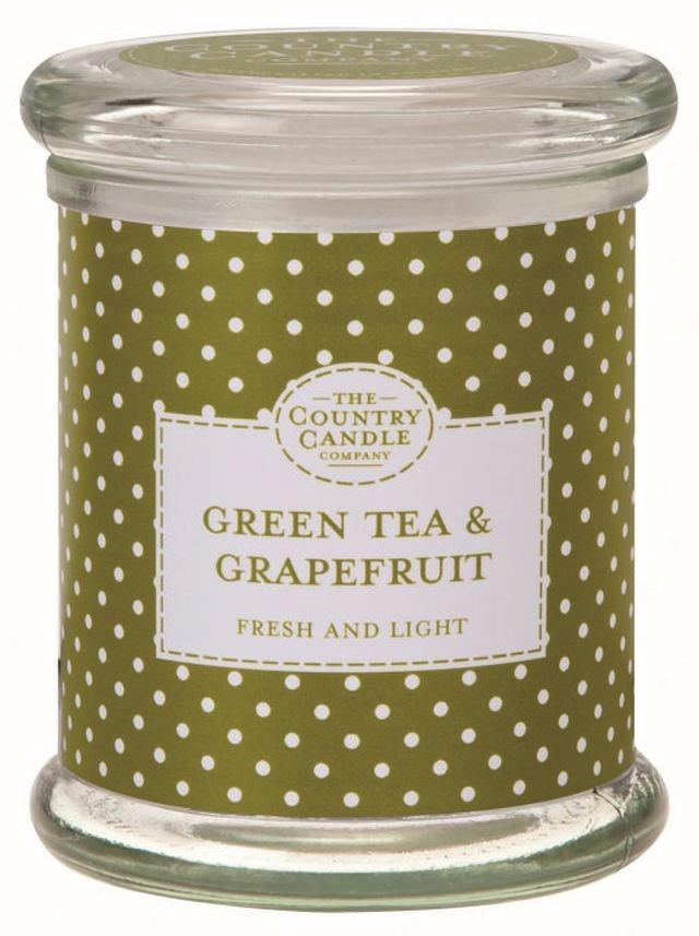 The Country Candle Company Svíčka ve skle - Zelený čaj a grep, zelená barva, sklo