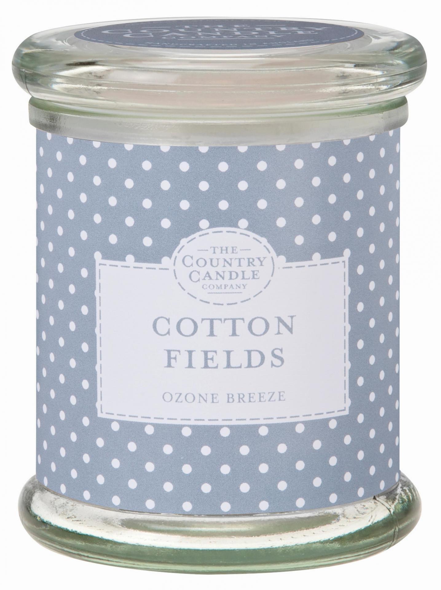 THE COUNTRY CANDLE COMPANY Svíčka ve skle - Bavlníkové pole, šedá barva, sklo