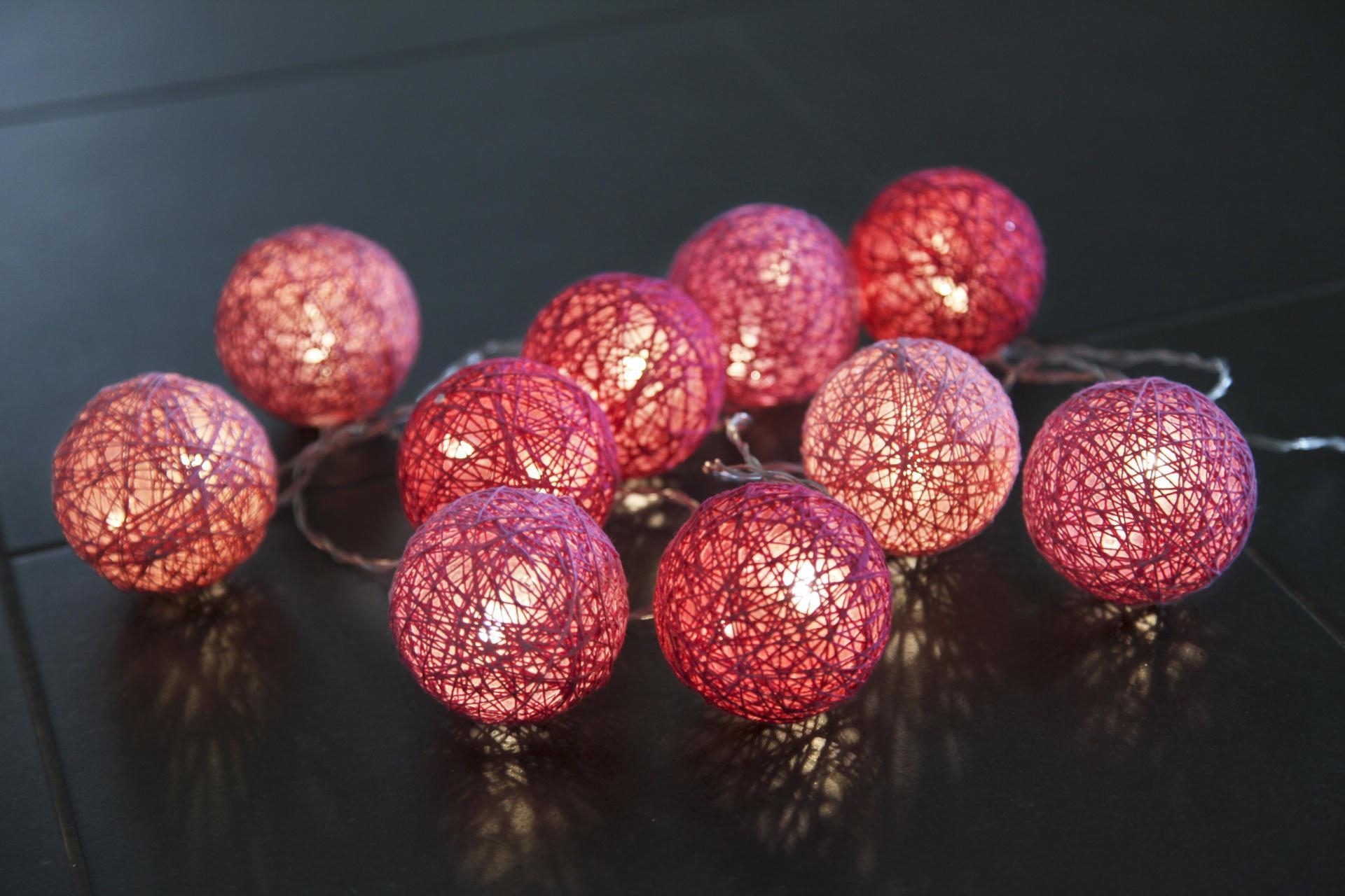 STAR TRADING Světelný lampionový řetěz Jolly Pink, růžová barva, plast, textil