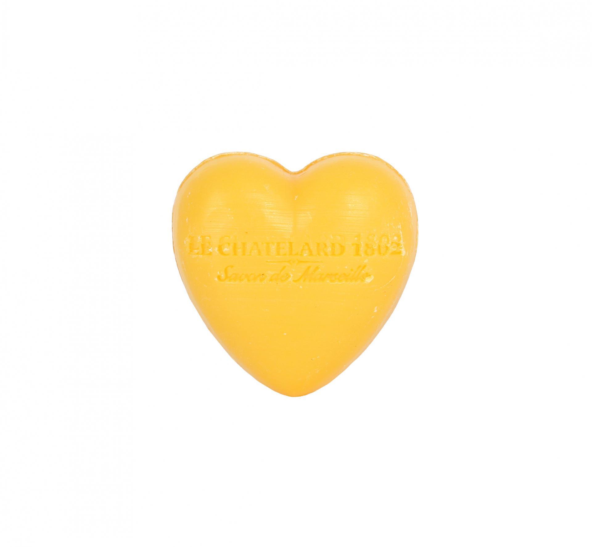 LE CHATELARD Francouzské mýdlo Heart - Mandarinka a limetka 25gr, žlutá barva, oranžová barva