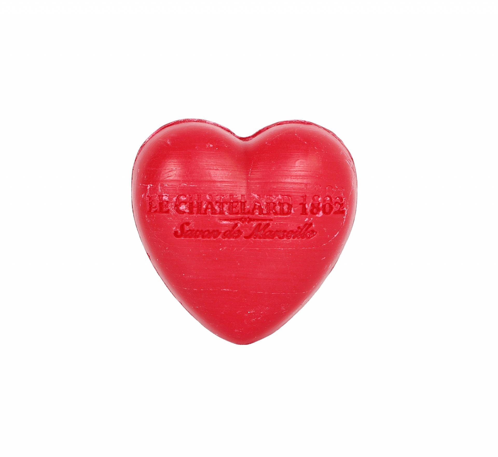 LE CHATELARD Francouzské mýdlo Heart - Červené ovoce 25gr, červená barva