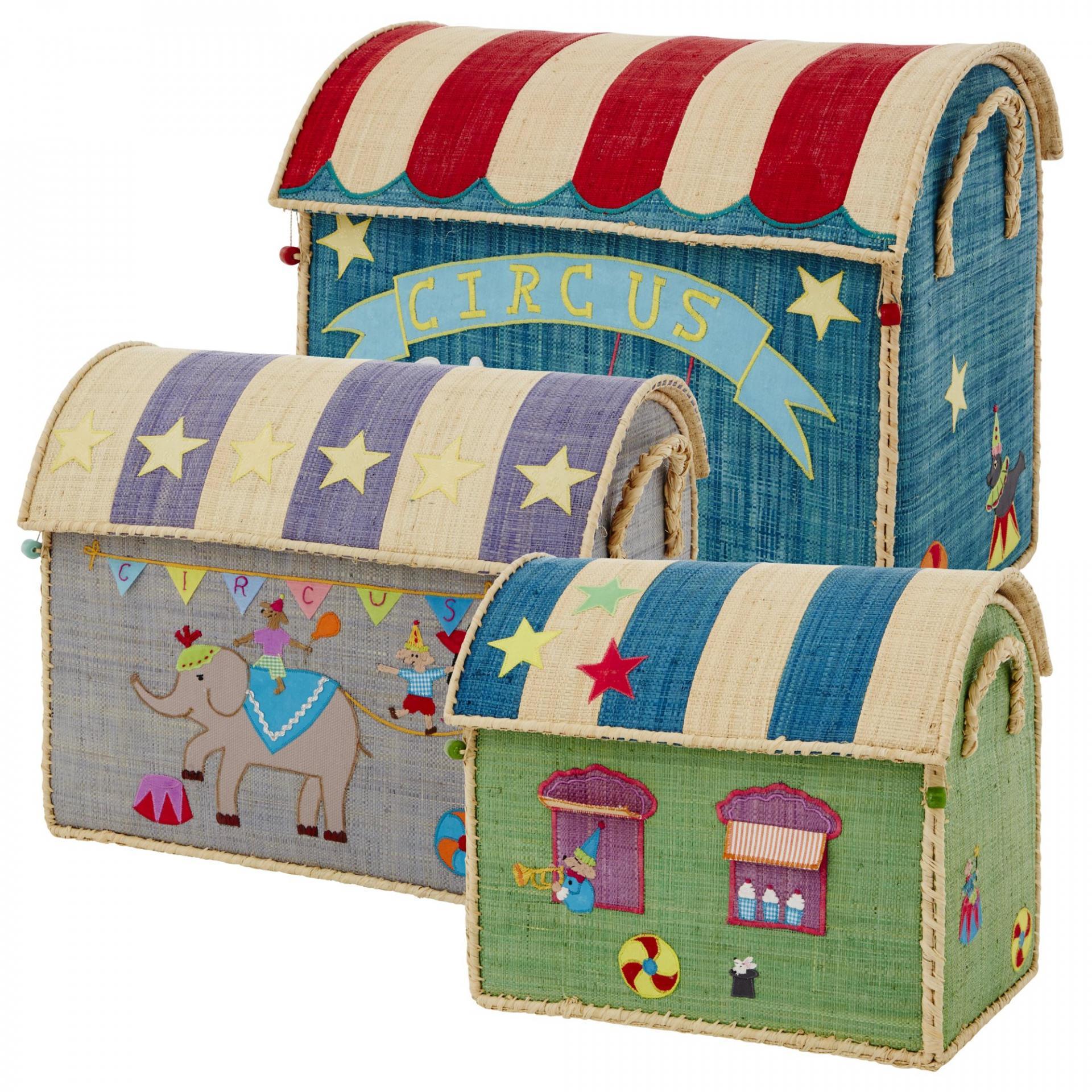 rice Úložný box na hračky Circus Velikost L (modrý), multi barva, proutí, papír