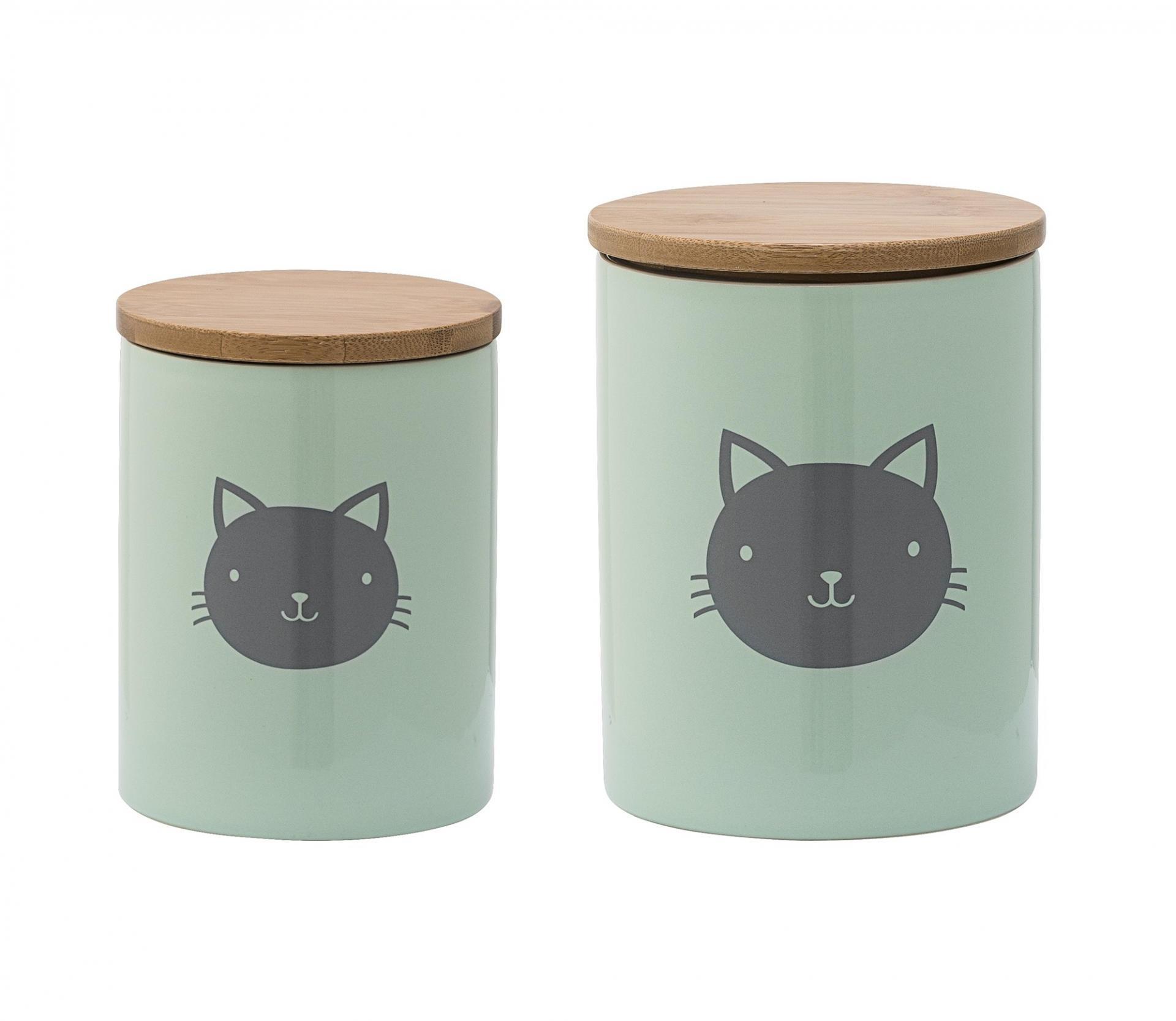 Bloomingville Keramická dóza na granule Cat Dusty mint Menší, zelená barva, keramika