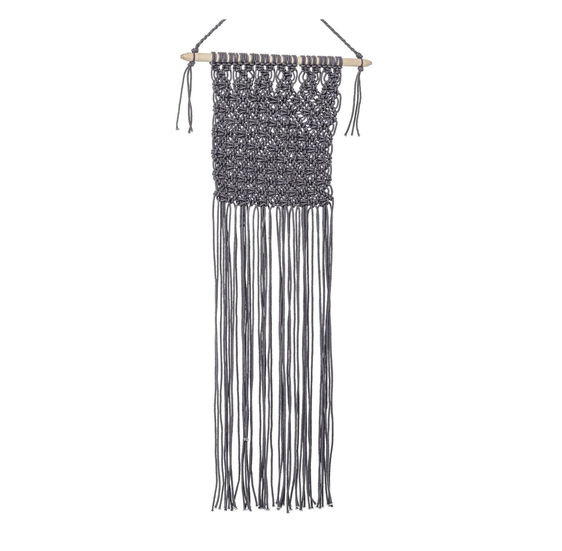 Bloomingville Nástěnná dekorace z provázků Grey, šedá barva, textil