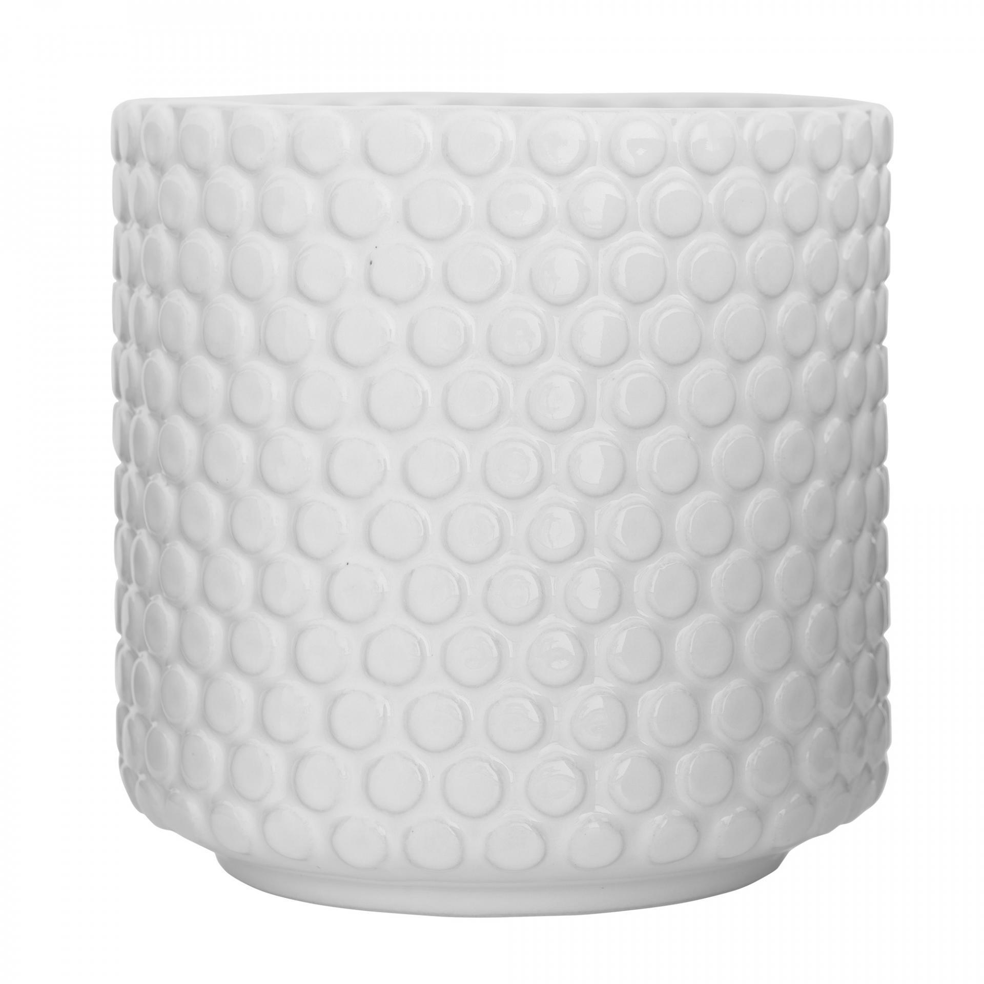 Bloomingville Keramický květník Bubble White, bílá barva, keramika