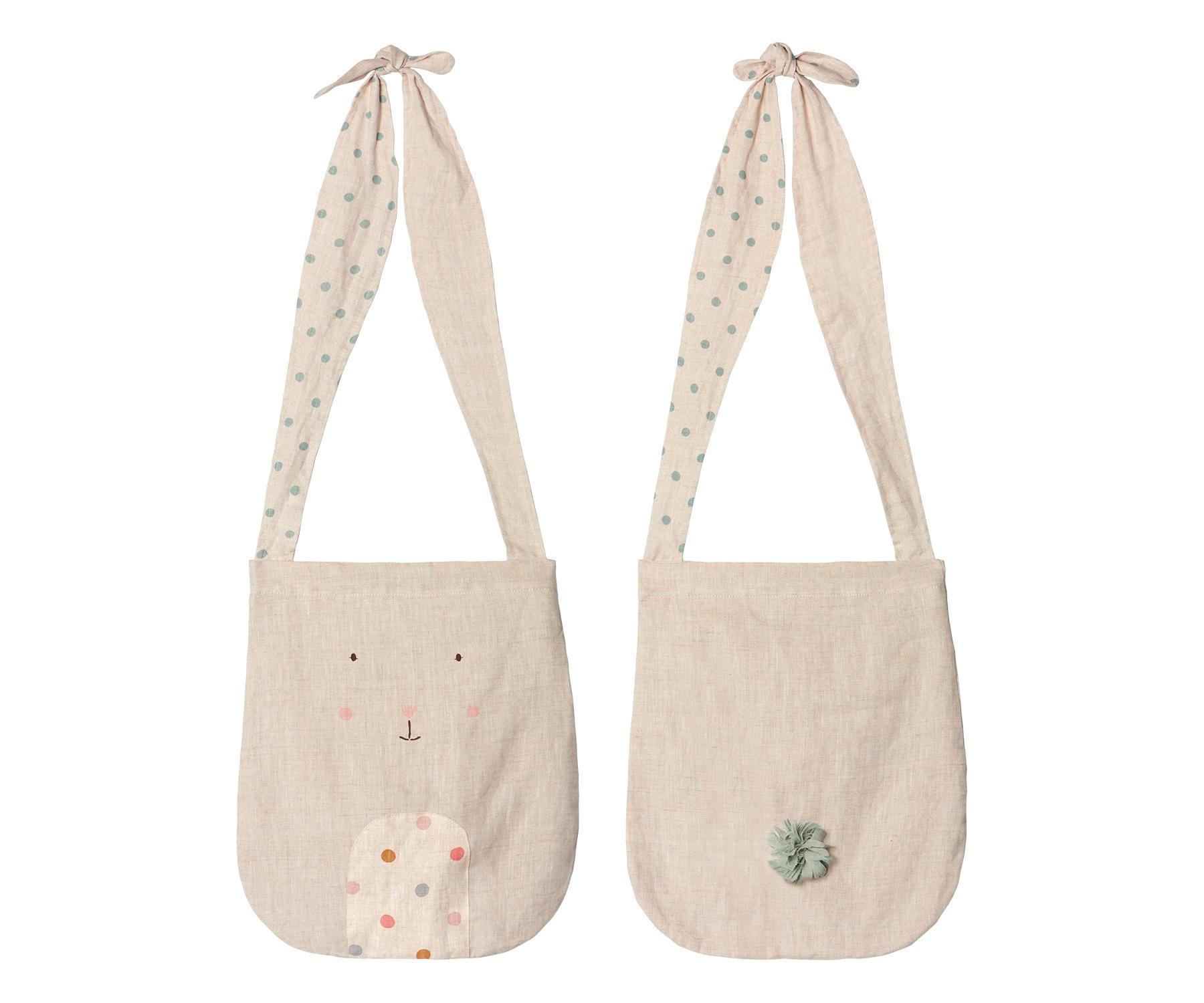 Maileg Dětská lněná taška Awake Bunny, béžová barva, textil