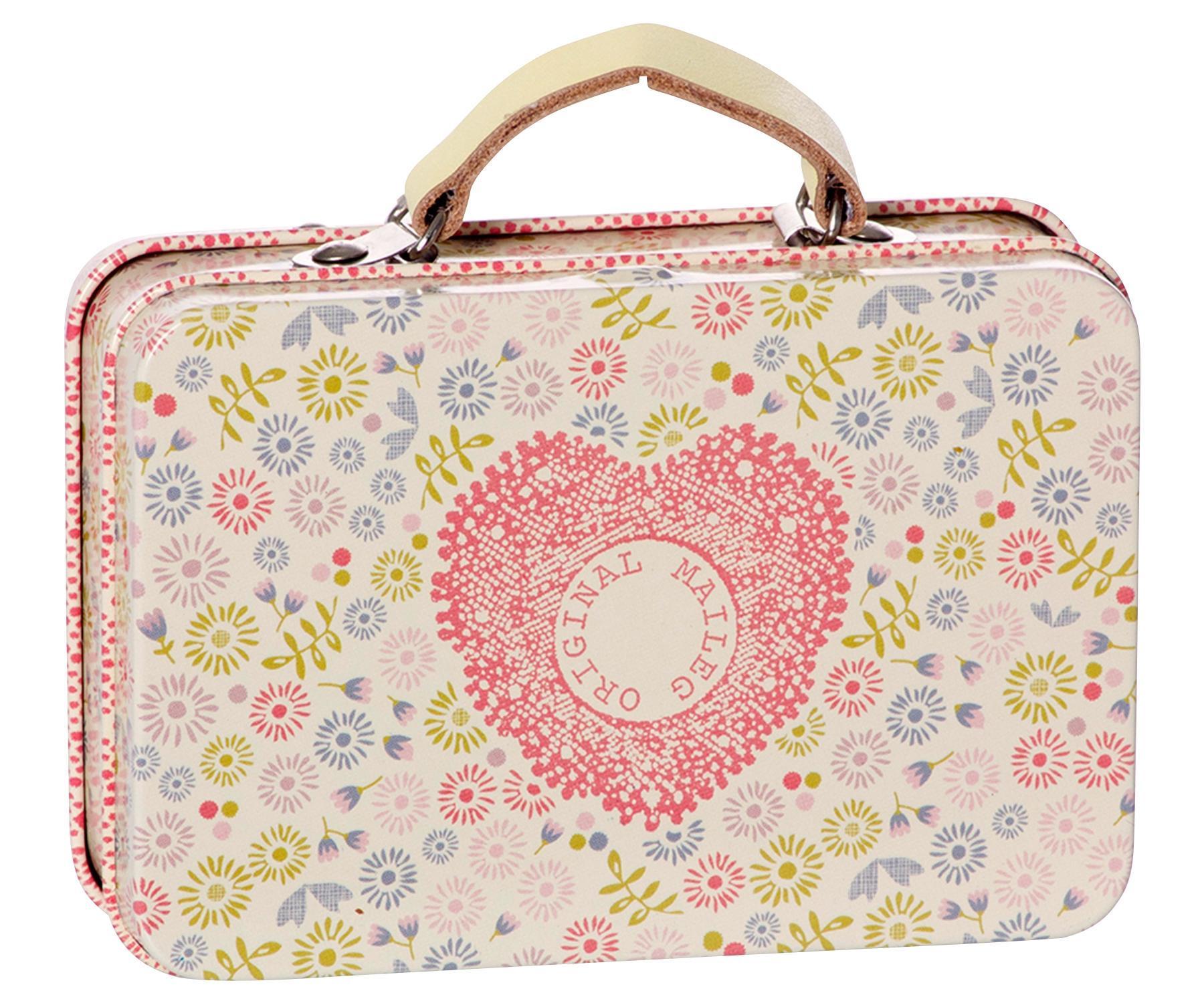 Maileg Plechový mini kufřík Flower, béžová barva, multi barva, kov