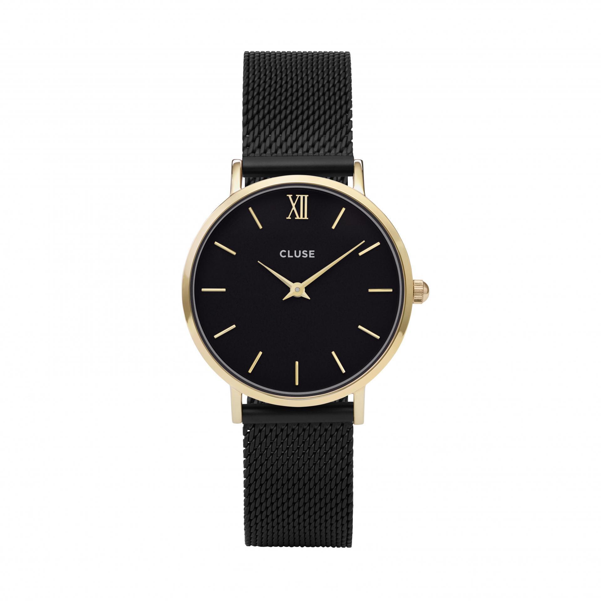 CLUSE Hodinky Cluse Minuit Mesh Gold black/black, černá barva, kov
