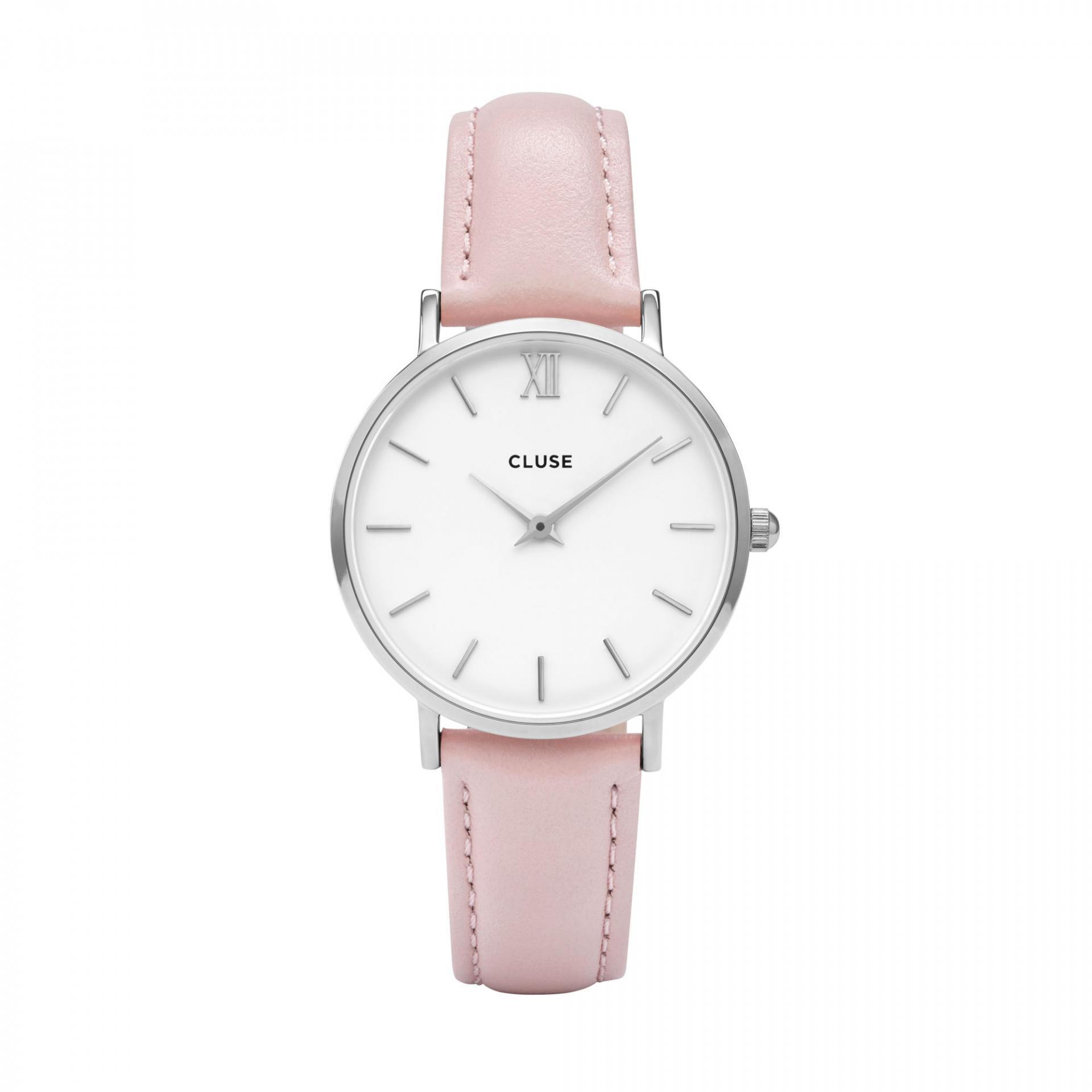CLUSE Hodinky Cluse Minuit Silver white/pink, růžová barva, sklo, kov, kůže
