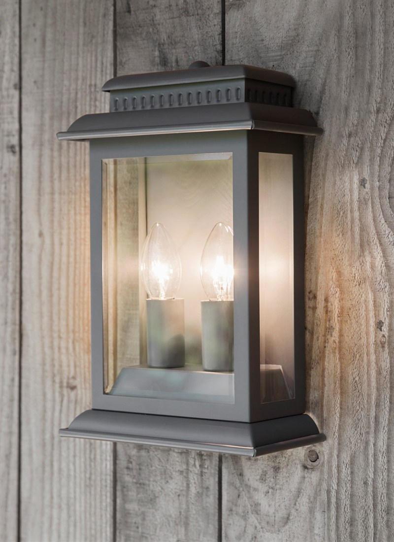 Garden Trading Nástěnná venkovní lampa Belvedere Charcoal, šedá barva, kov