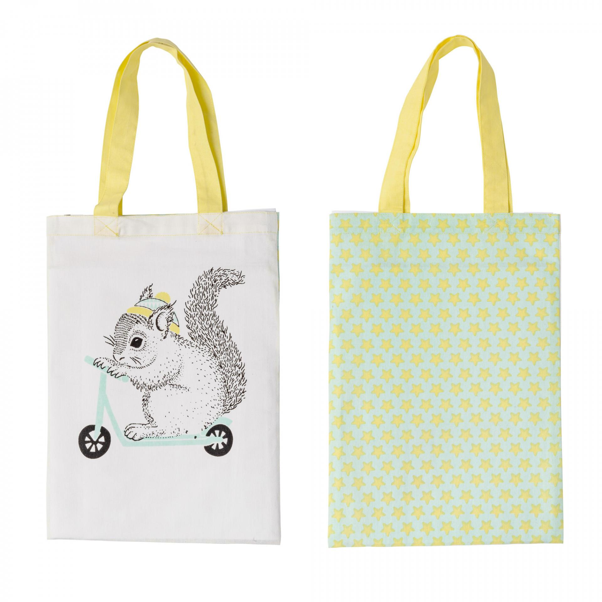 Bloomingville Dětská plátěná taška Squirrel, zelená barva, žlutá barva, textil