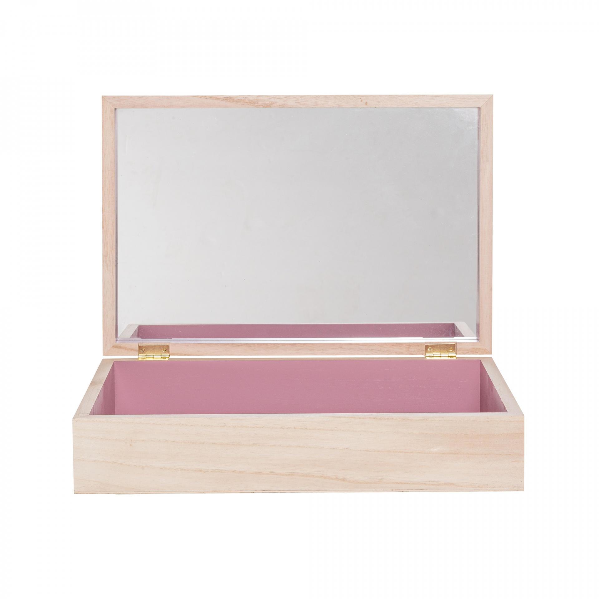 Bloomingville Toaletní stolek/šperkovnice se zrcadlem, růžová barva, béžová barva, sklo, dřevo
