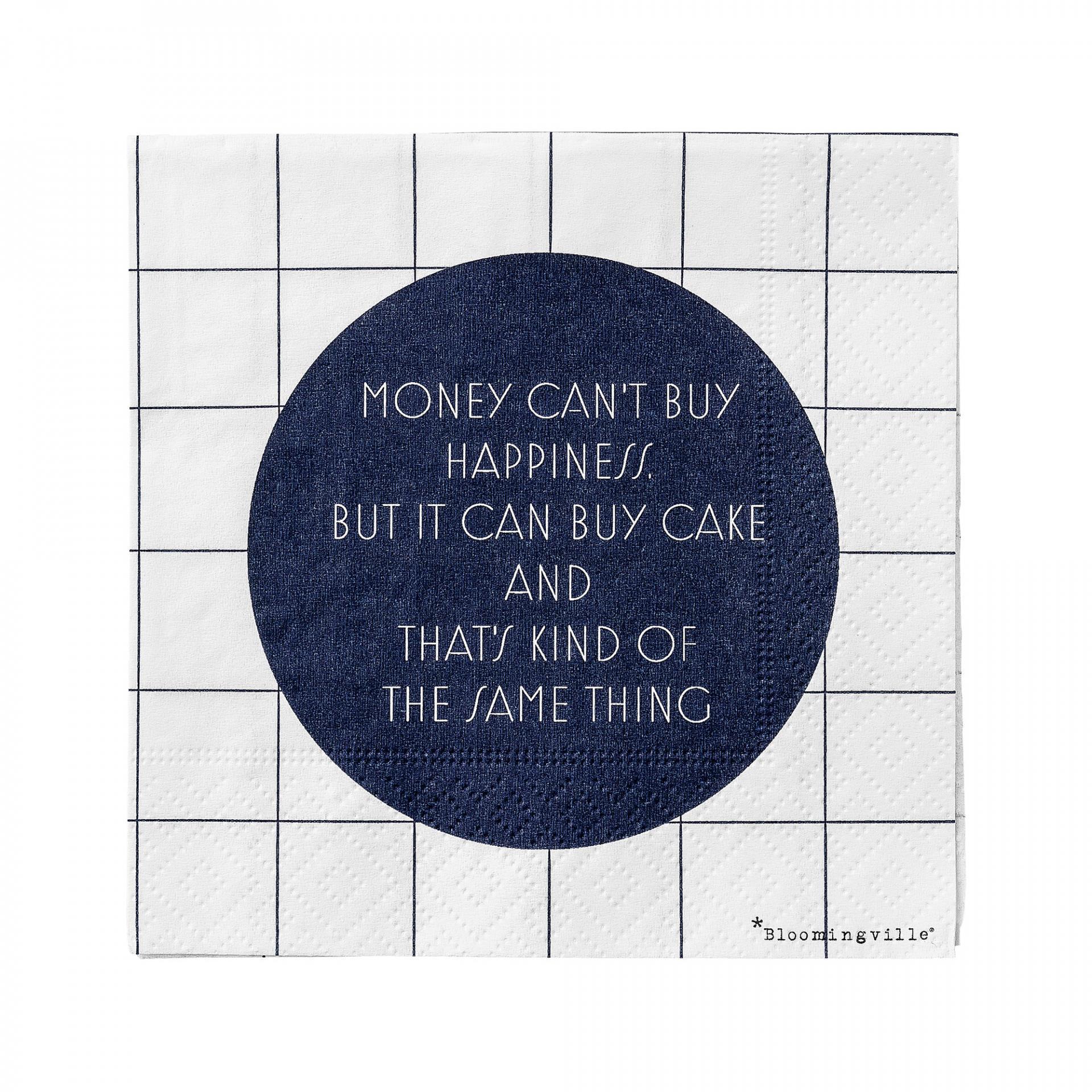 Bloomingville Papírové ubrousky Money, modrá barva, papír