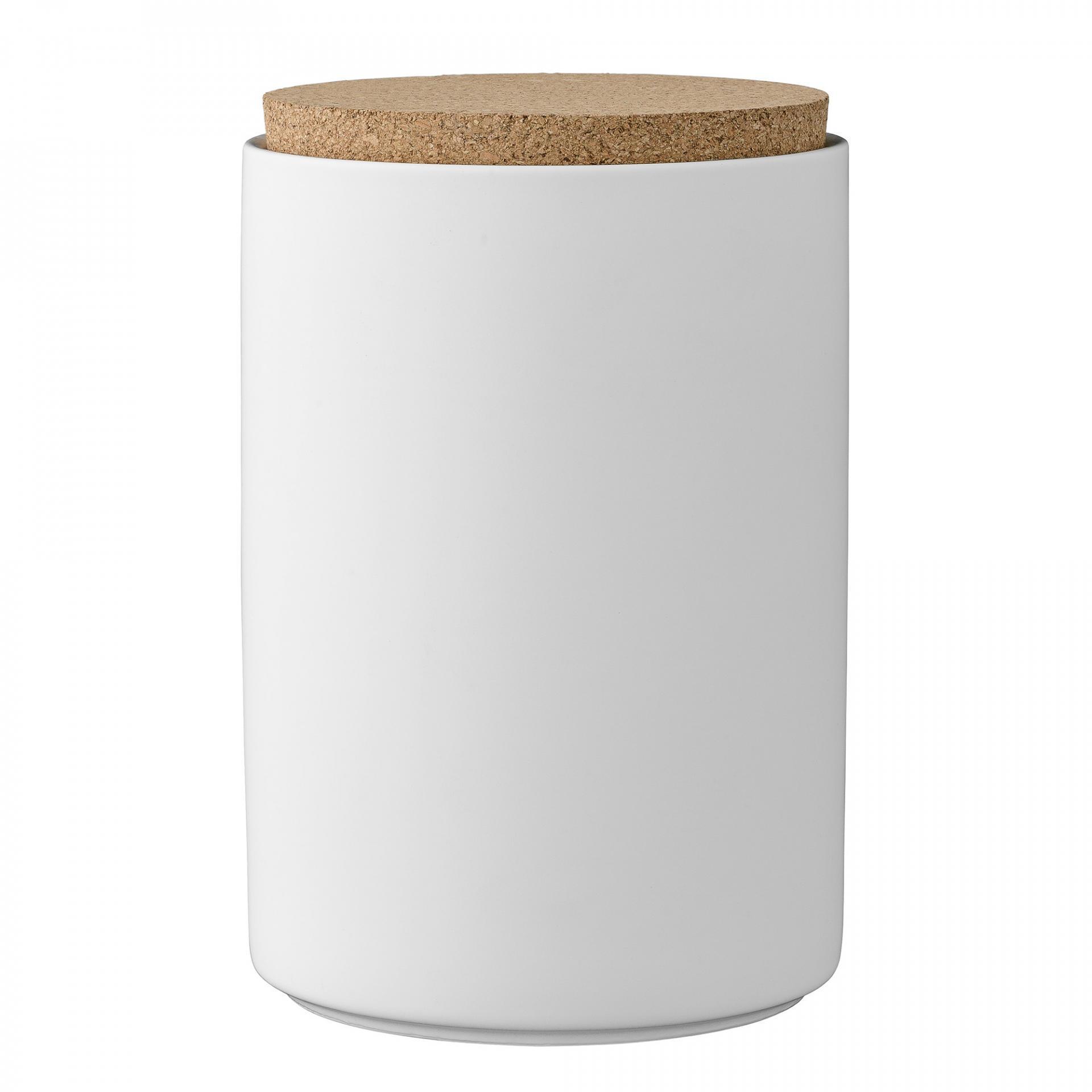 Bloomingville Dóza s korkovým víčkem White, bílá barva, porcelán
