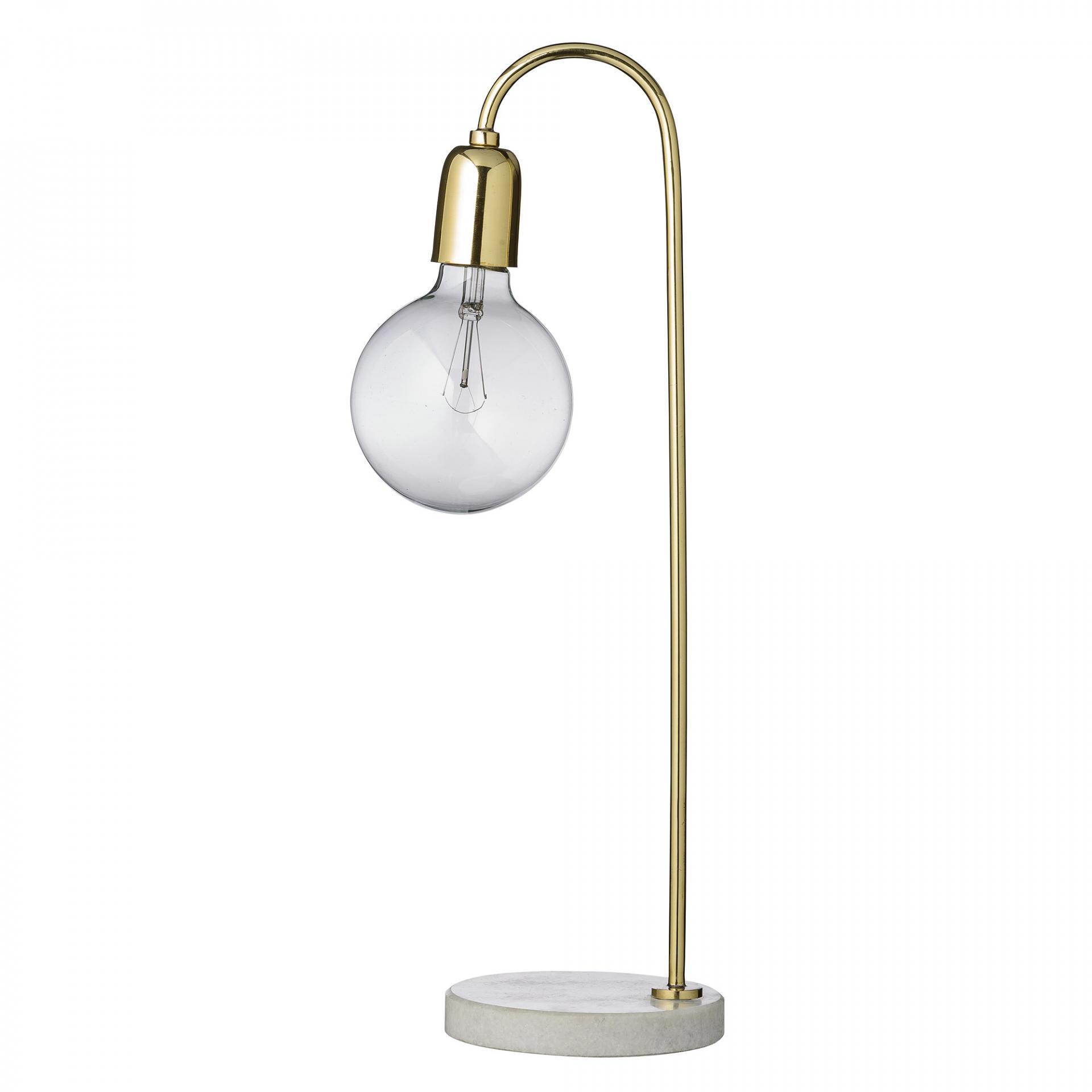 Bloomingville Stolní lampa Marble/brass, zlatá barva, kov, mramor