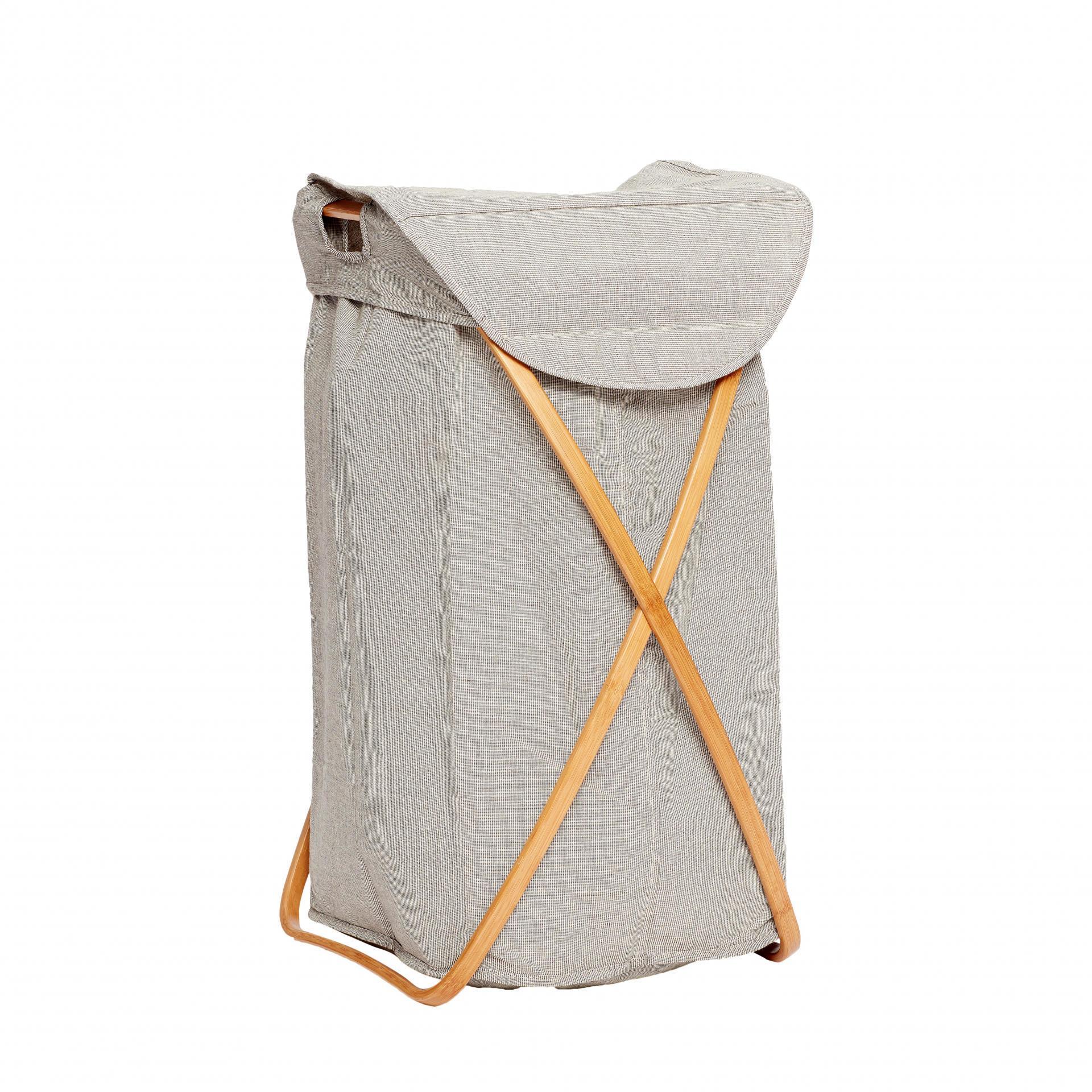 Hübsch Koš na prádlo Bamboo frame, šedá barva, dřevo, textil