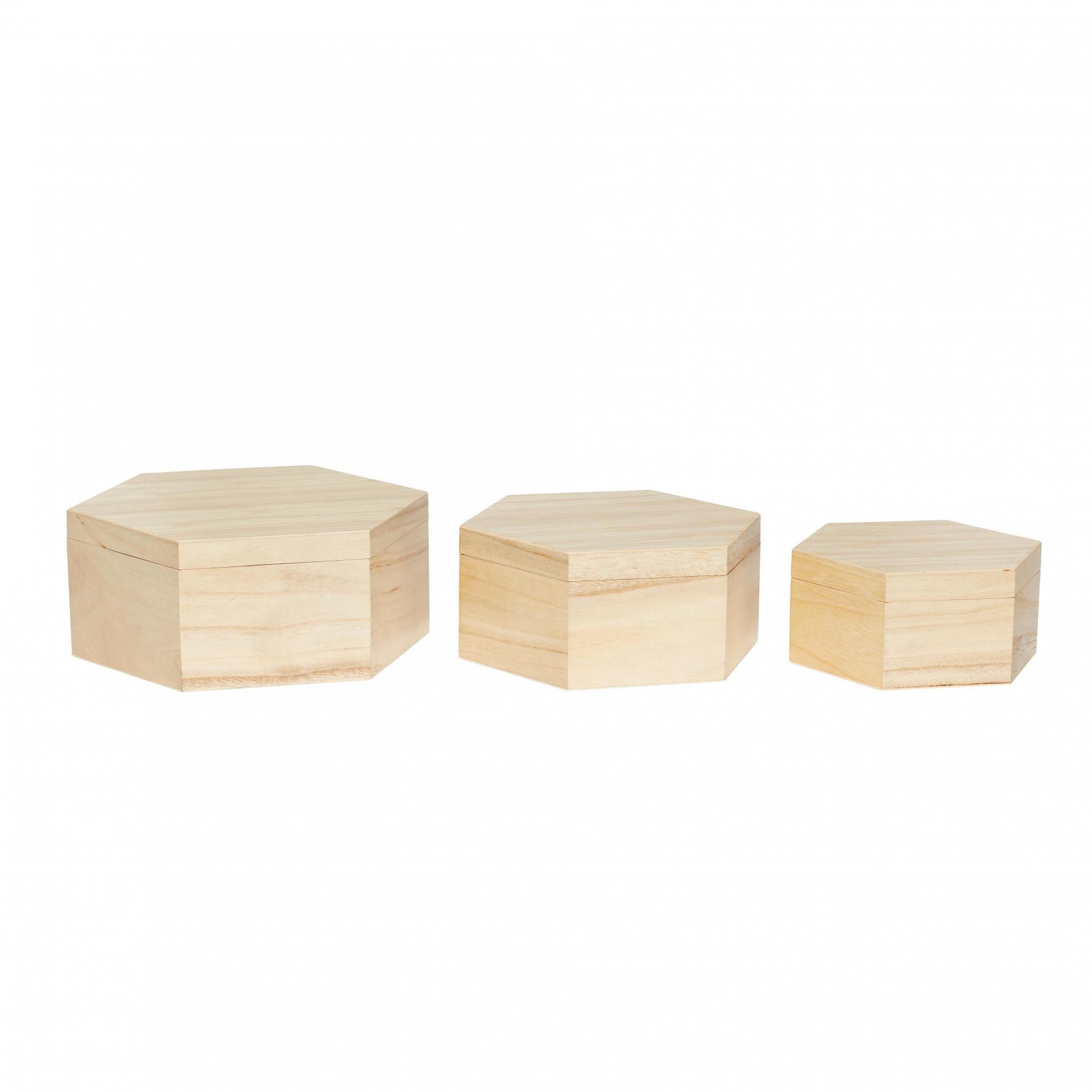Hübsch Úložný box Hexagonal Velikost L, hnědá barva, dřevo