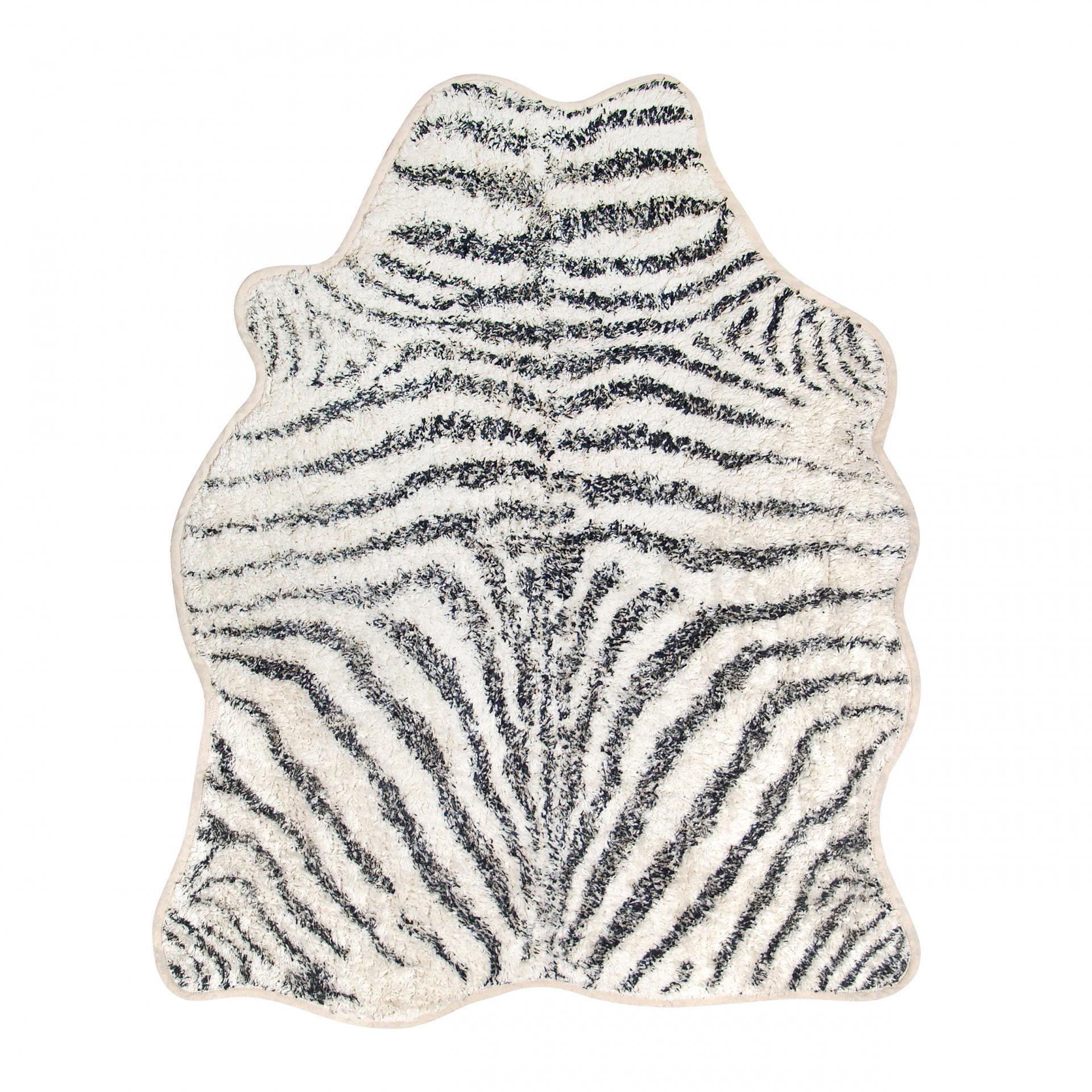 HK living Bavlněný kobereček Zebra, černá barva, textil