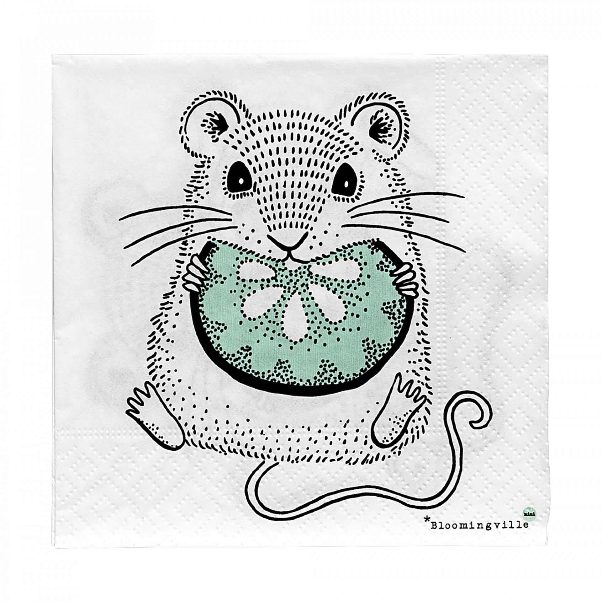 Bloomingville Papírové ubrousky Mouse, zelená barva, černá barva, bílá barva, papír