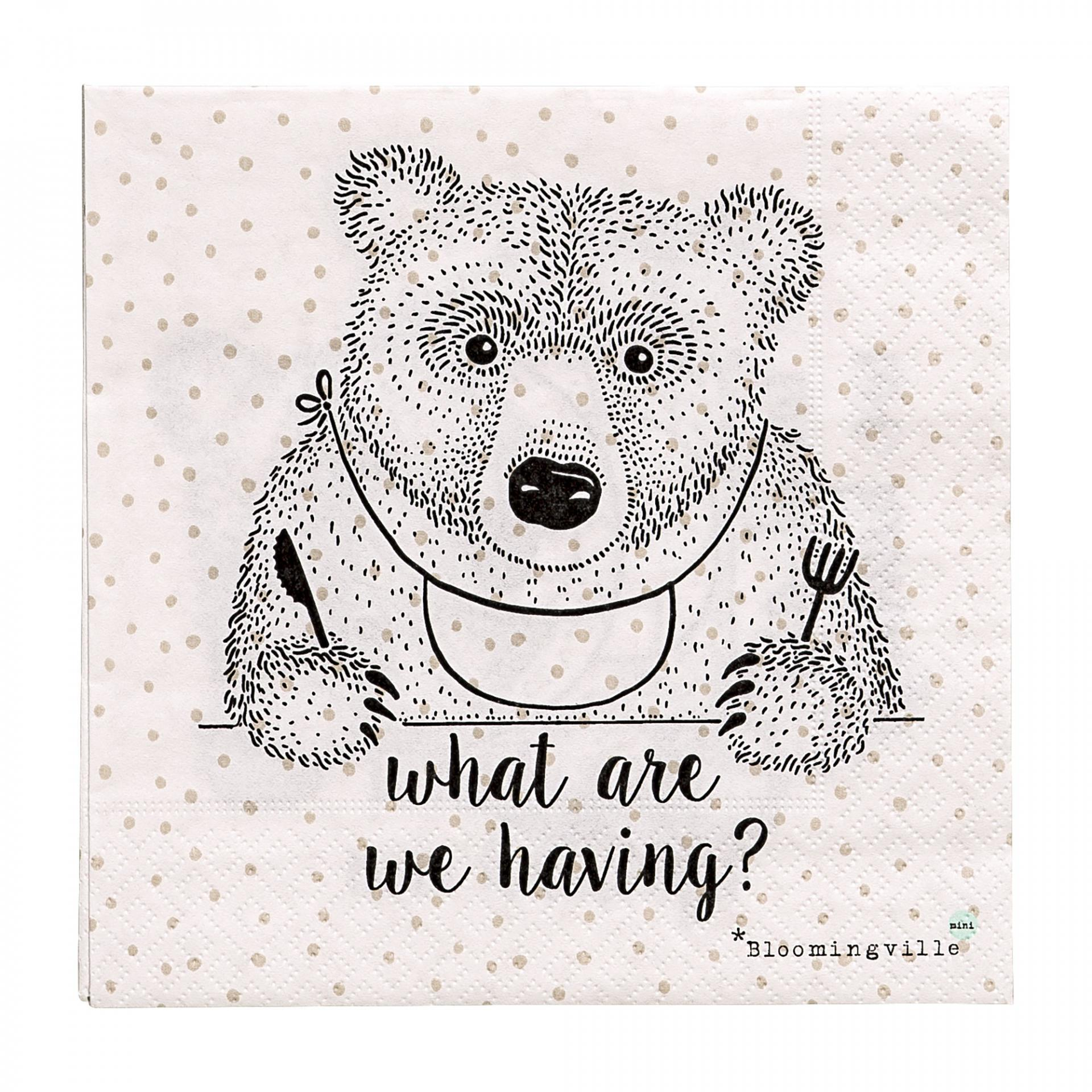 Bloomingville Papírové ubrousky Bear, černá barva, bílá barva, papír