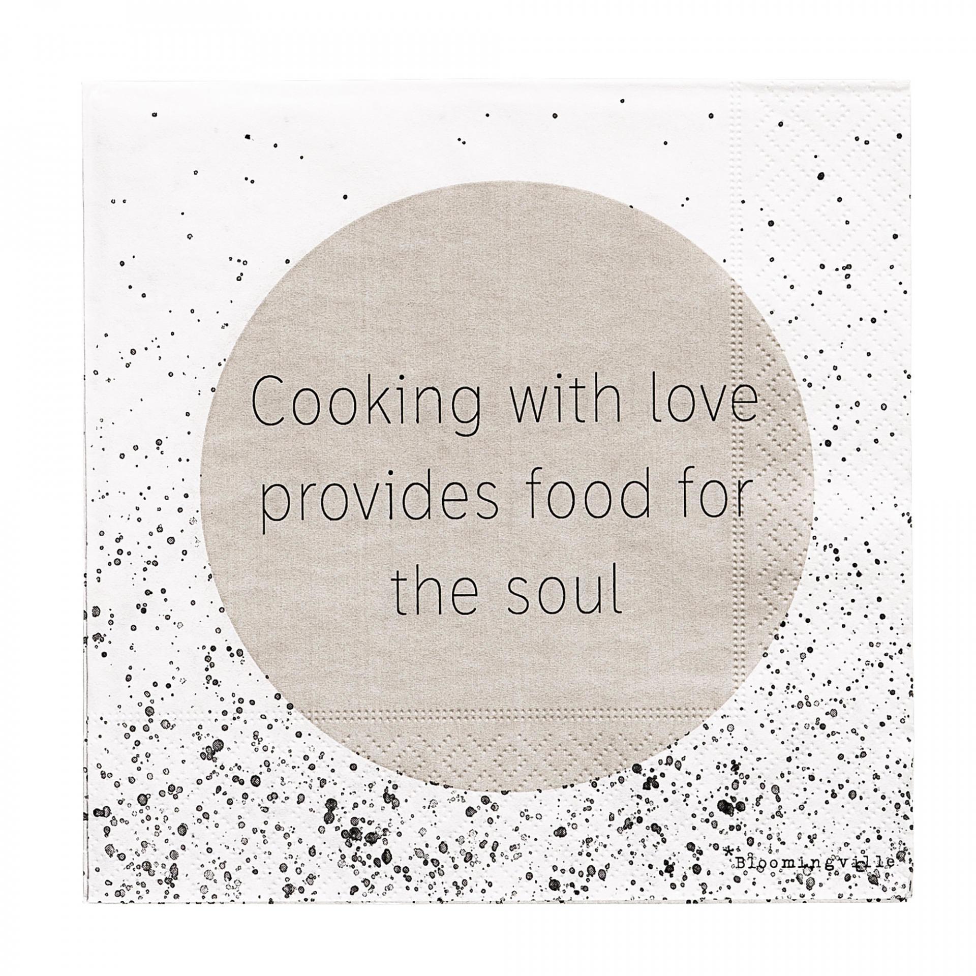 Bloomingville Papírové ubrousky Cooking, béžová barva, černá barva, bílá barva, papír