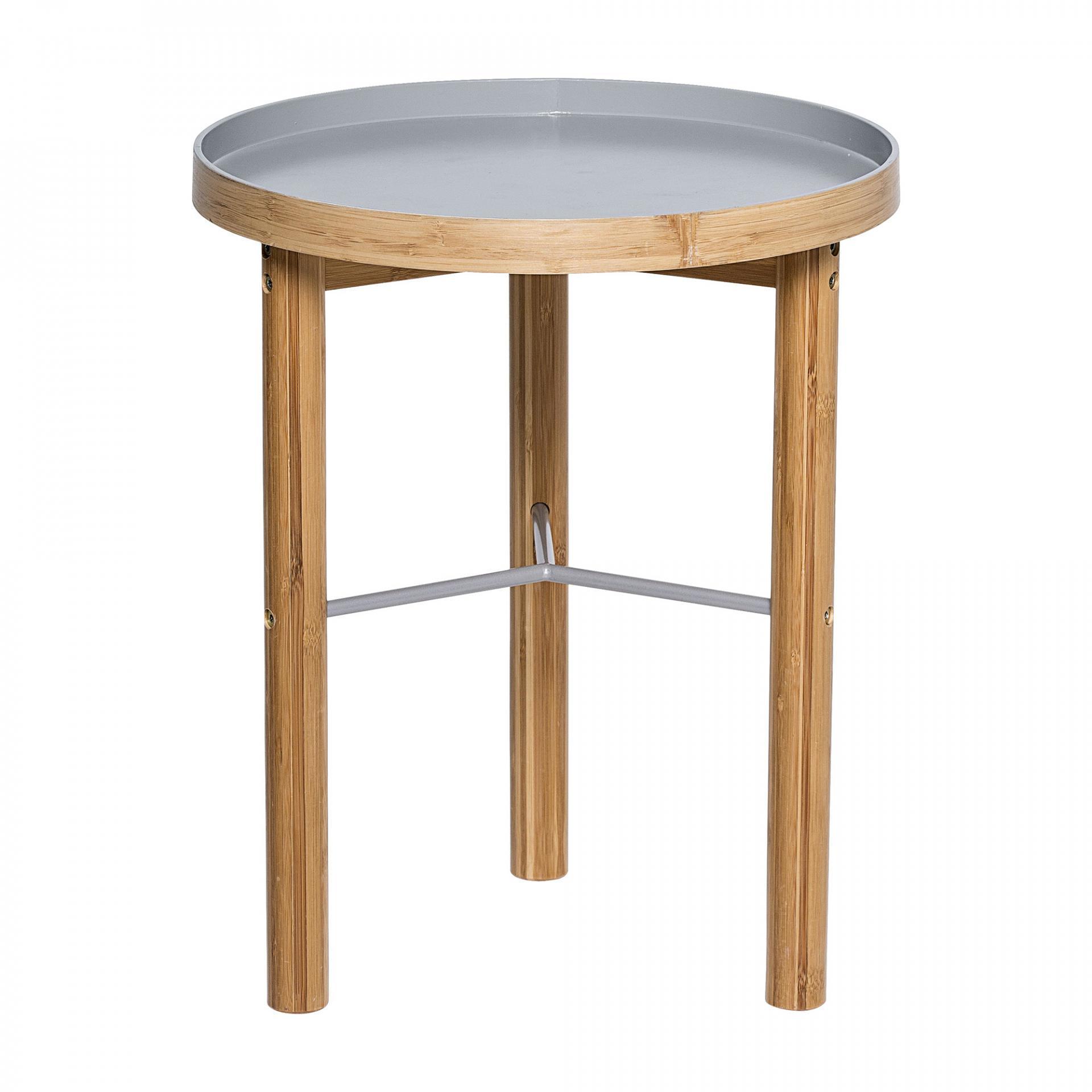 Bloomingville Odkládací bambusový stolek Grey, šedá barva, hnědá barva, dřevo