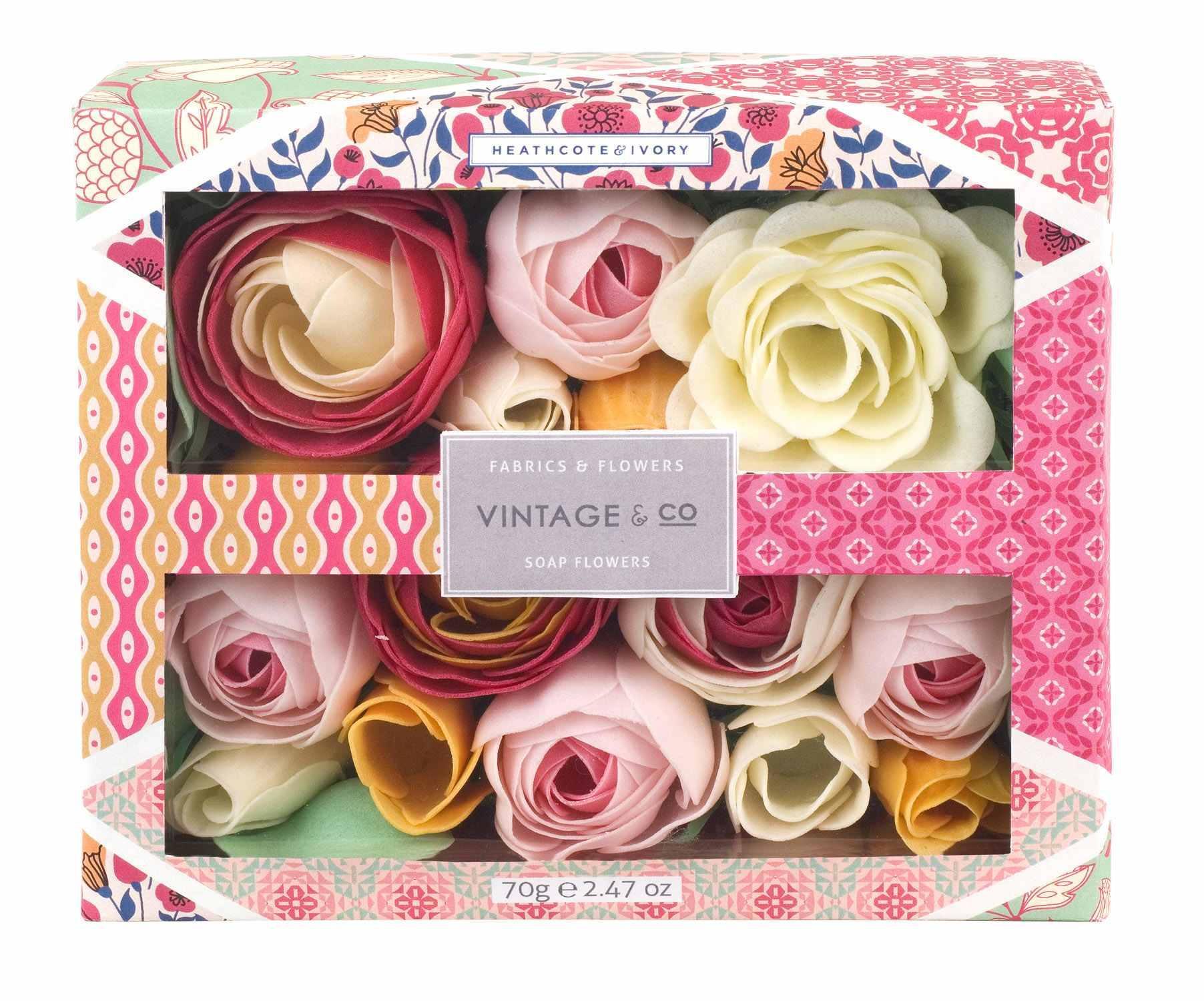 HEATHCOTE & IVORY Mýdlové květy do koupele Fabrics & Flowers, růžová barva, zelená barva, multi barva, papír