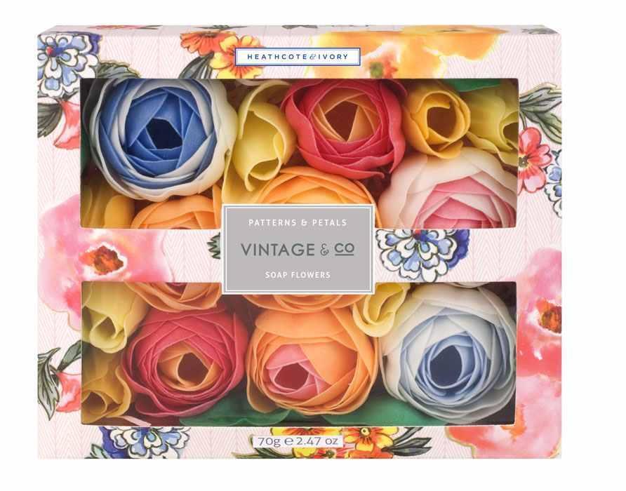 HEATHCOTE & IVORY Mýdlové květy do koupele Patterns & Petals, růžová barva, oranžová barva, multi barva, papír