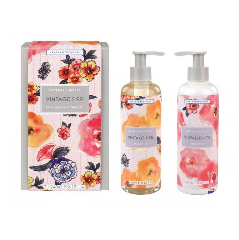 HEATHCOTE & IVORY Dárková sada mýdla a krému na ruce Patterns & Petals, růžová barva, oranžová barva, multi barva, plast, papír