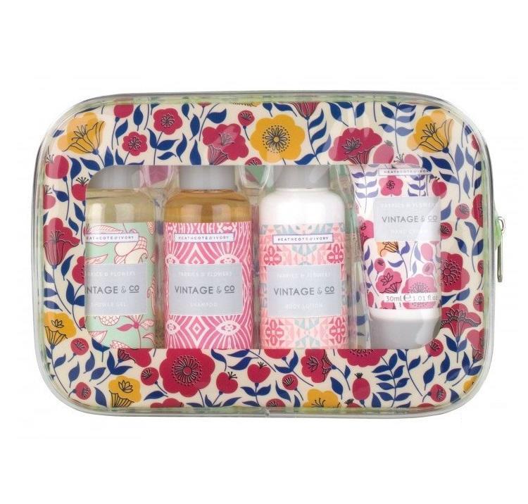 HEATHCOTE & IVORY Cestovní set kosmetiky v taštičce Fabrics & Flowers, multi barva, plast