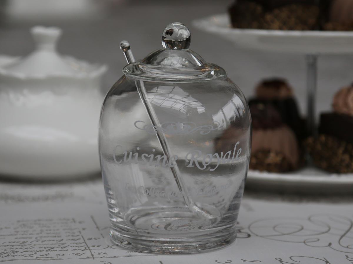 Chic Antique Skleněná dóza s víkem a lžičkou Cuisine
