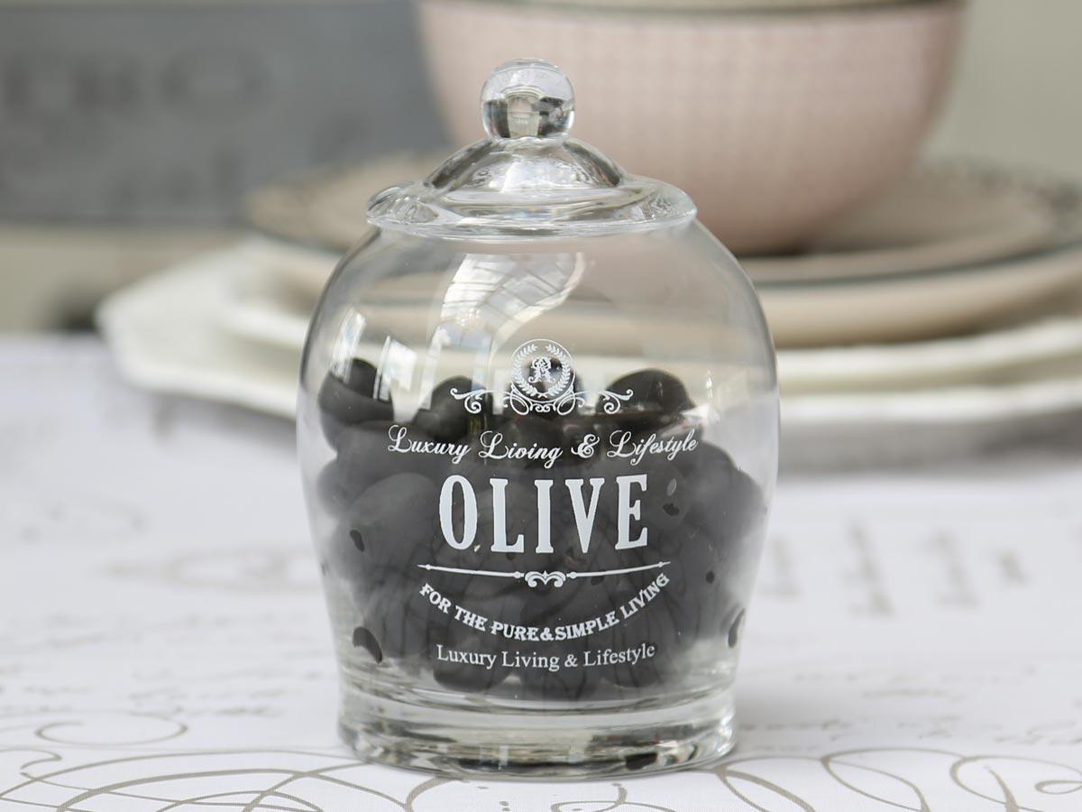 Chic Antique Skleněná dóza s víkem a lžičkou na olivy, čirá barva, sklo