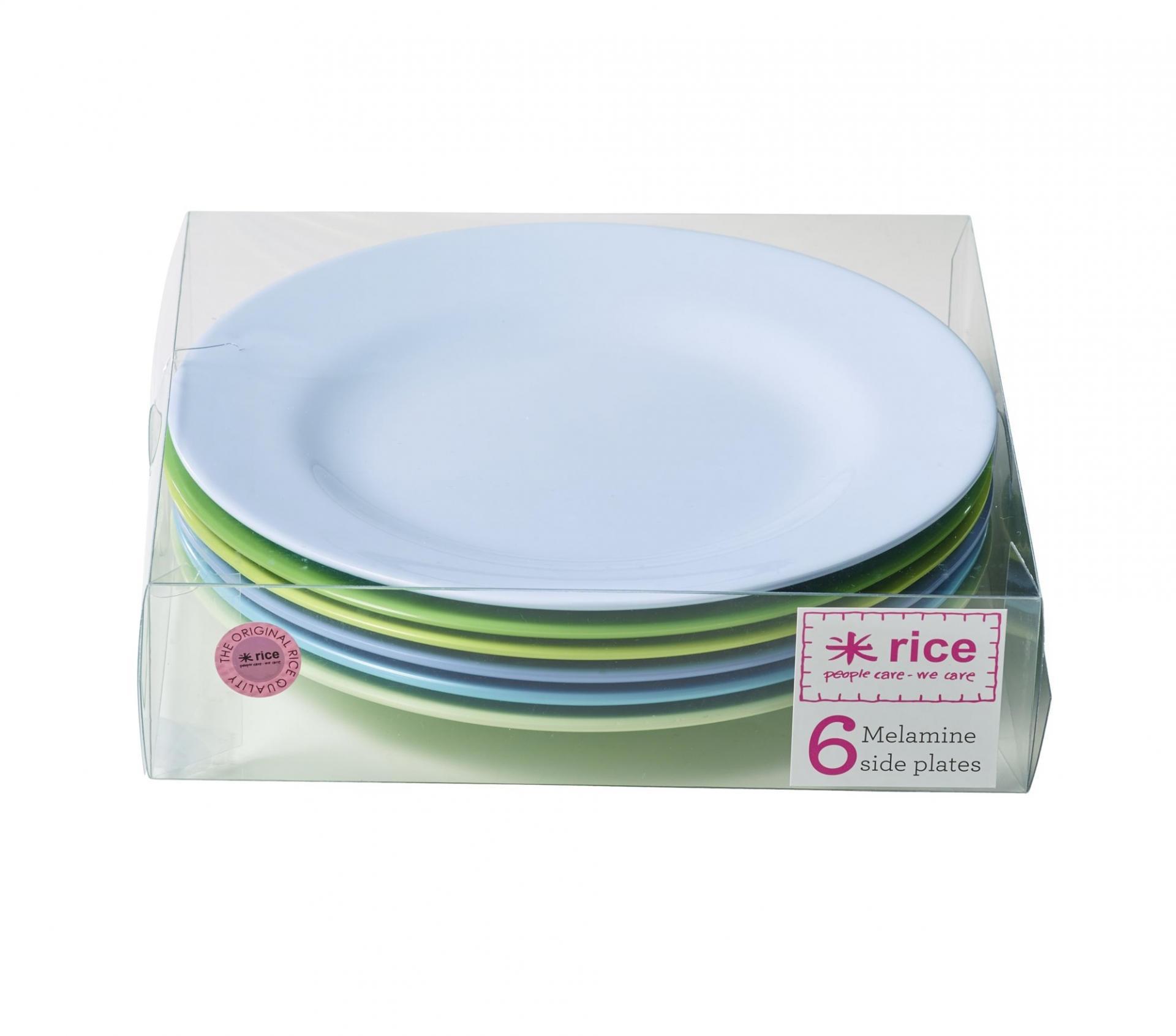 rice Melaminové talířky Blue/Green - set 6 kusů, modrá barva, zelená barva, melamin