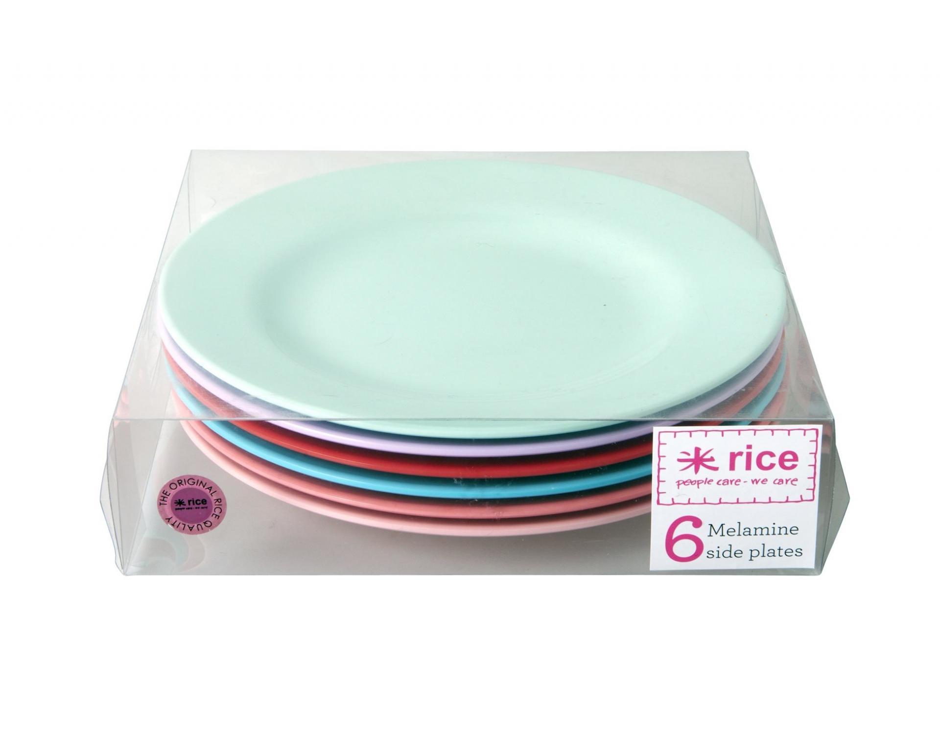 rice Melaminové talířky Extraordinary - set 6 kusů, červená barva, růžová barva, fialová barva, zelená barva, melamin