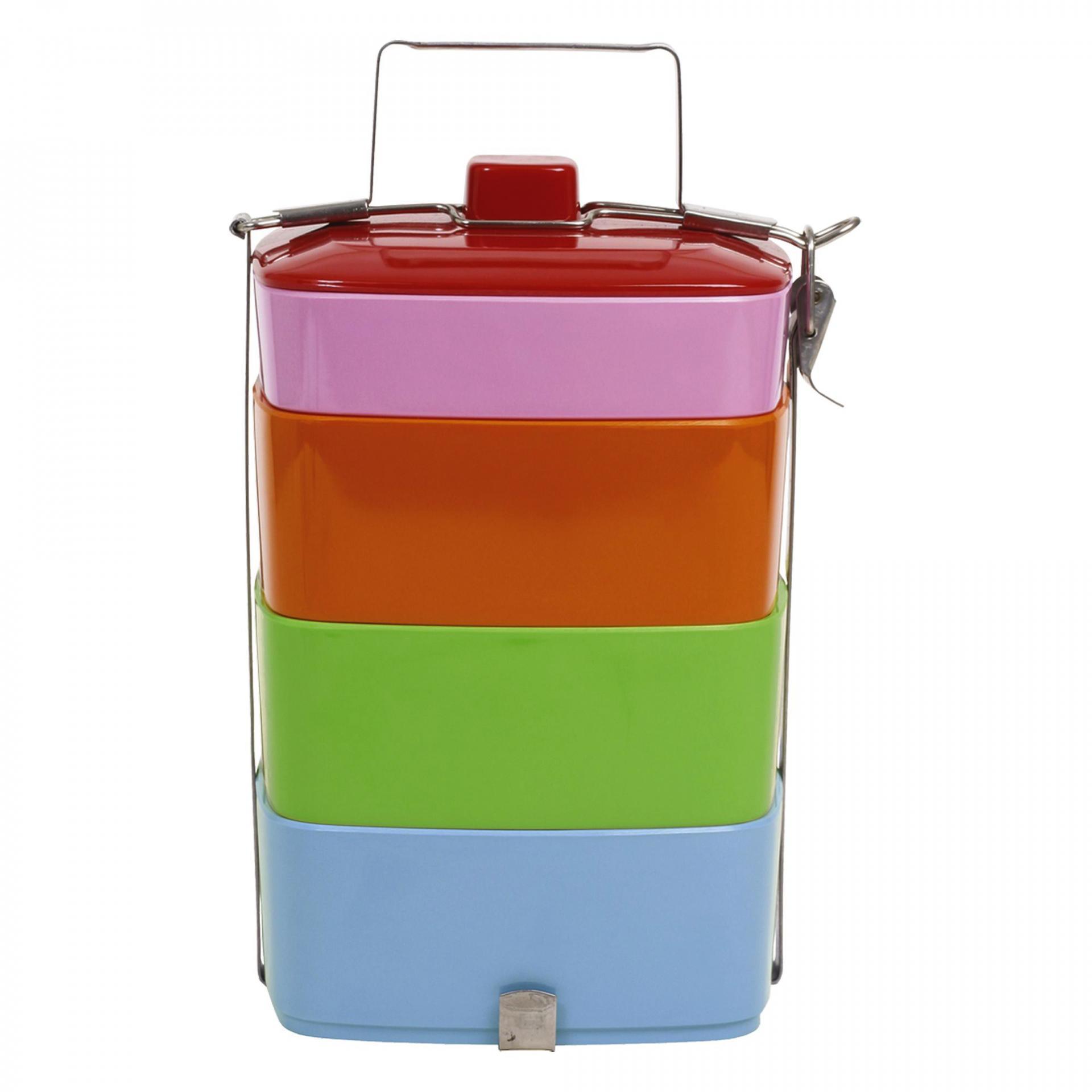 rice Čtyřpatrový melaminový jídlonosič Colors, růžová barva, modrá barva, zelená barva, oranžová barva, multi barva, melamin