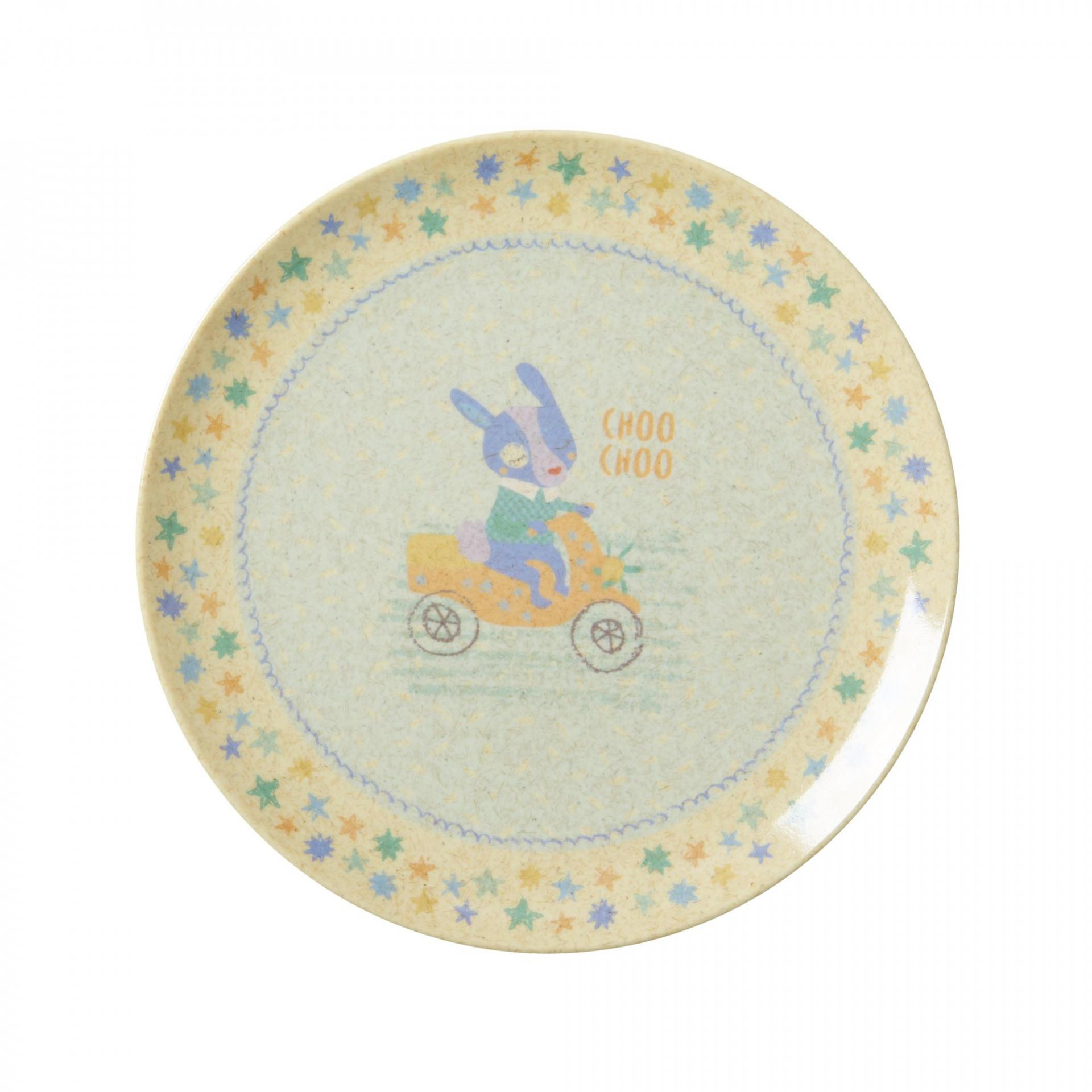 rice Melaminový talířek Race, modrá barva, melamin