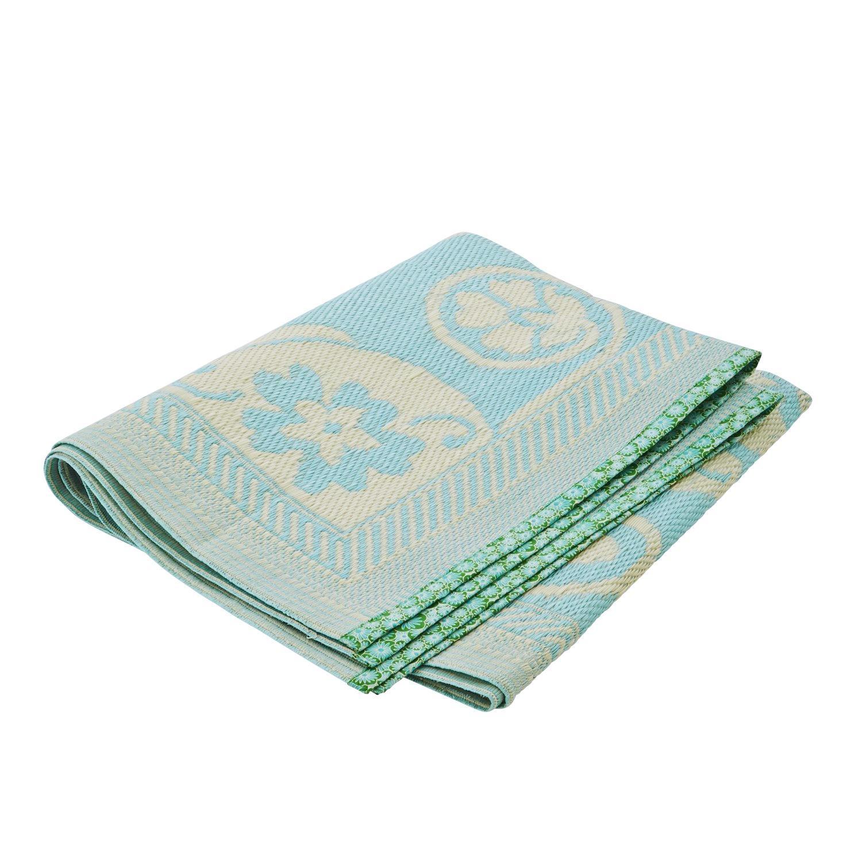 rice Plastový koberec Blue/Cream 120x180 cm, modrá barva, krémová barva, plast