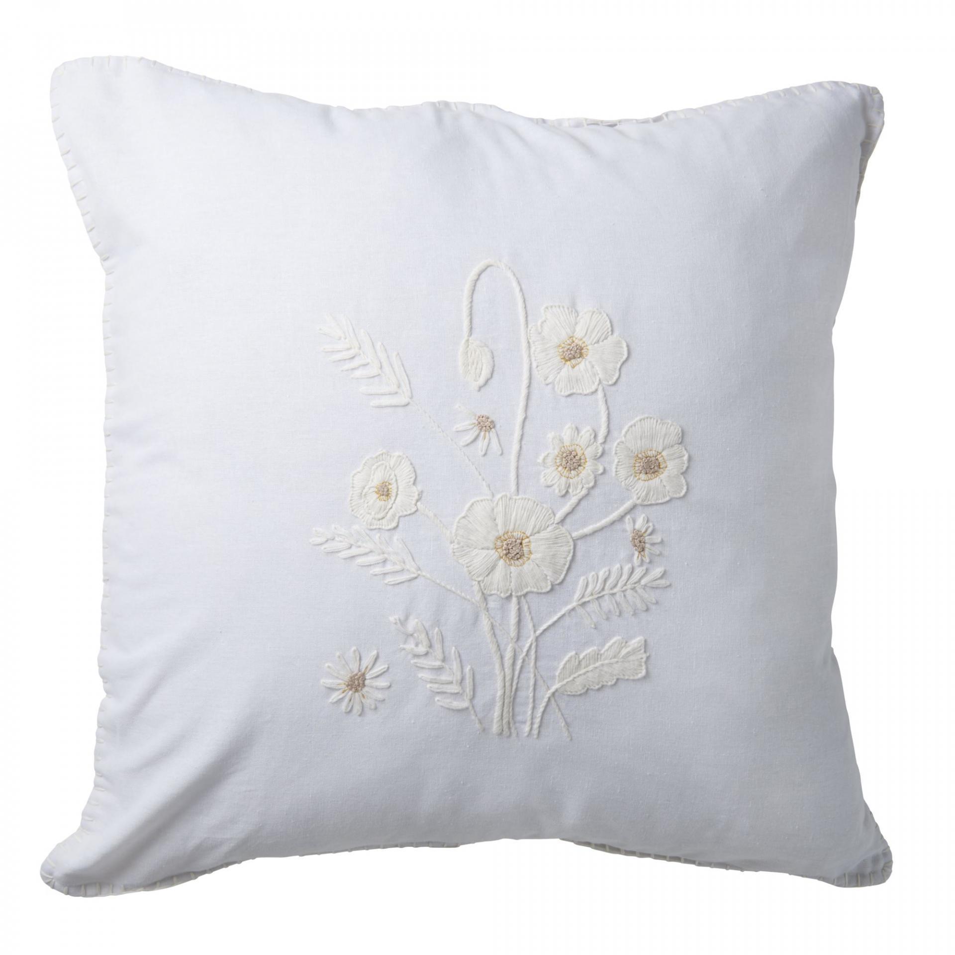 rice Lněný povlak na polštář Flowers Cream 60x60 cm, bílá barva, krémová barva, textil